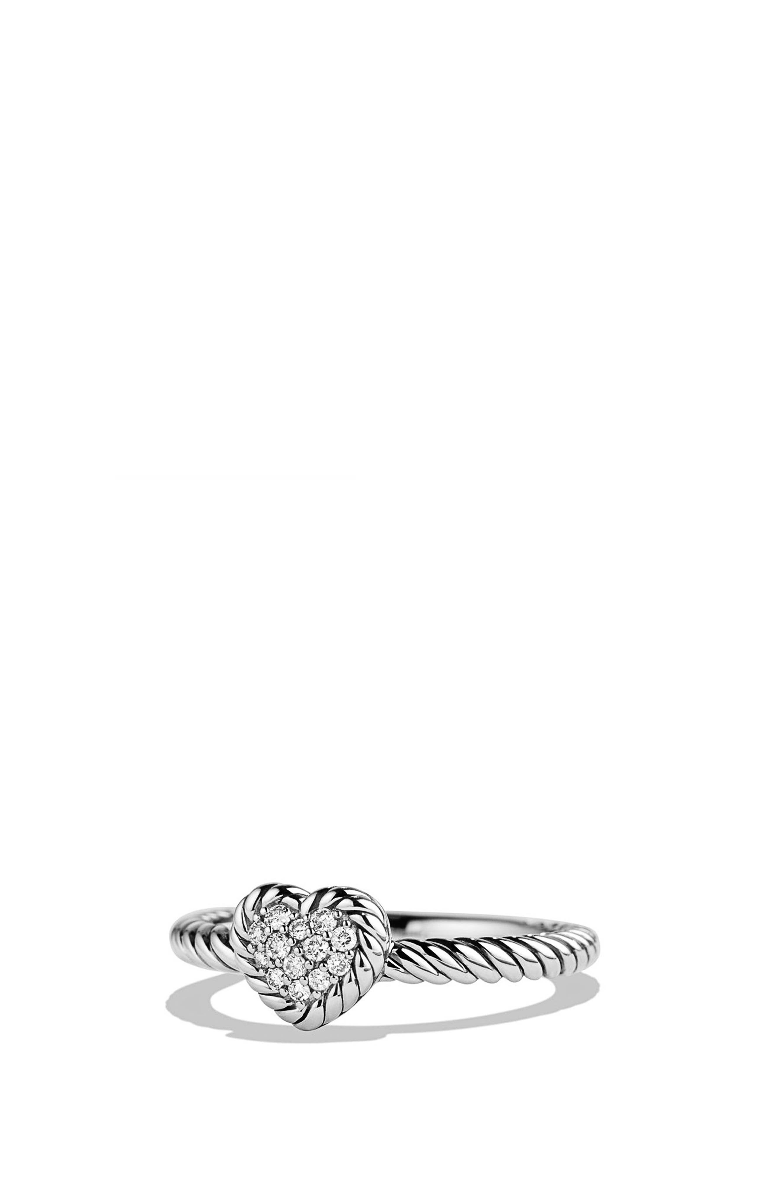 'Châtelaine' Heart Ring with Diamonds,                             Main thumbnail 1, color,                             SILVER