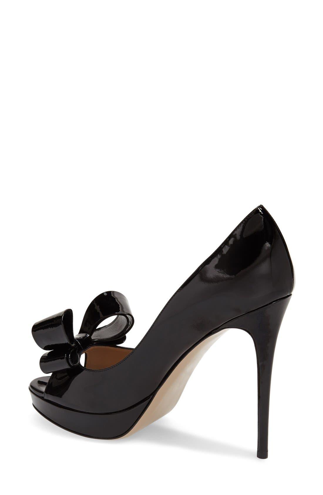 VALENTINO GARAVANI,                             Couture Bow Platform Pump,                             Alternate thumbnail 5, color,                             001