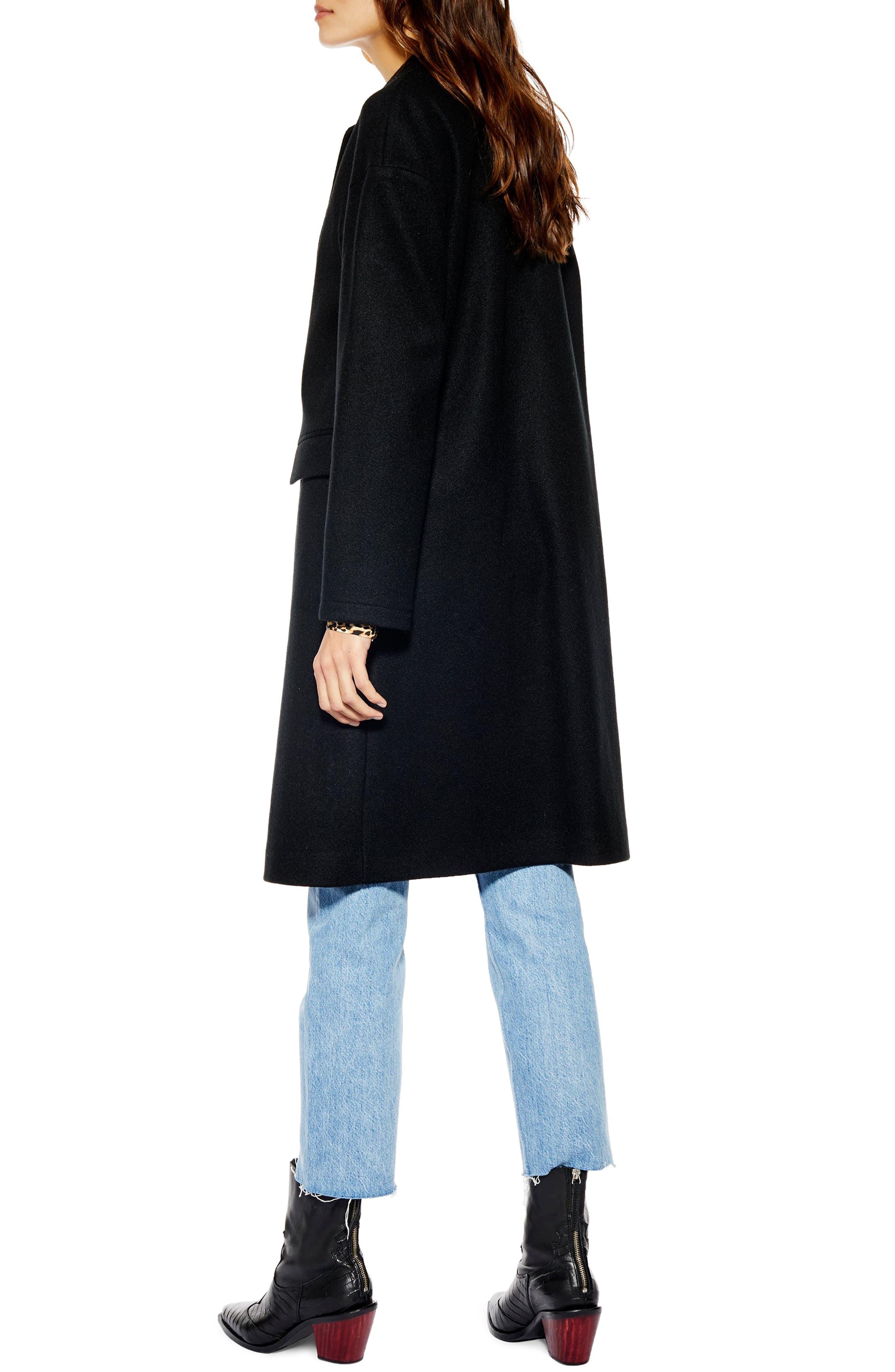 Lily Knit Back Midi Coat,                             Alternate thumbnail 2, color,                             BLACK