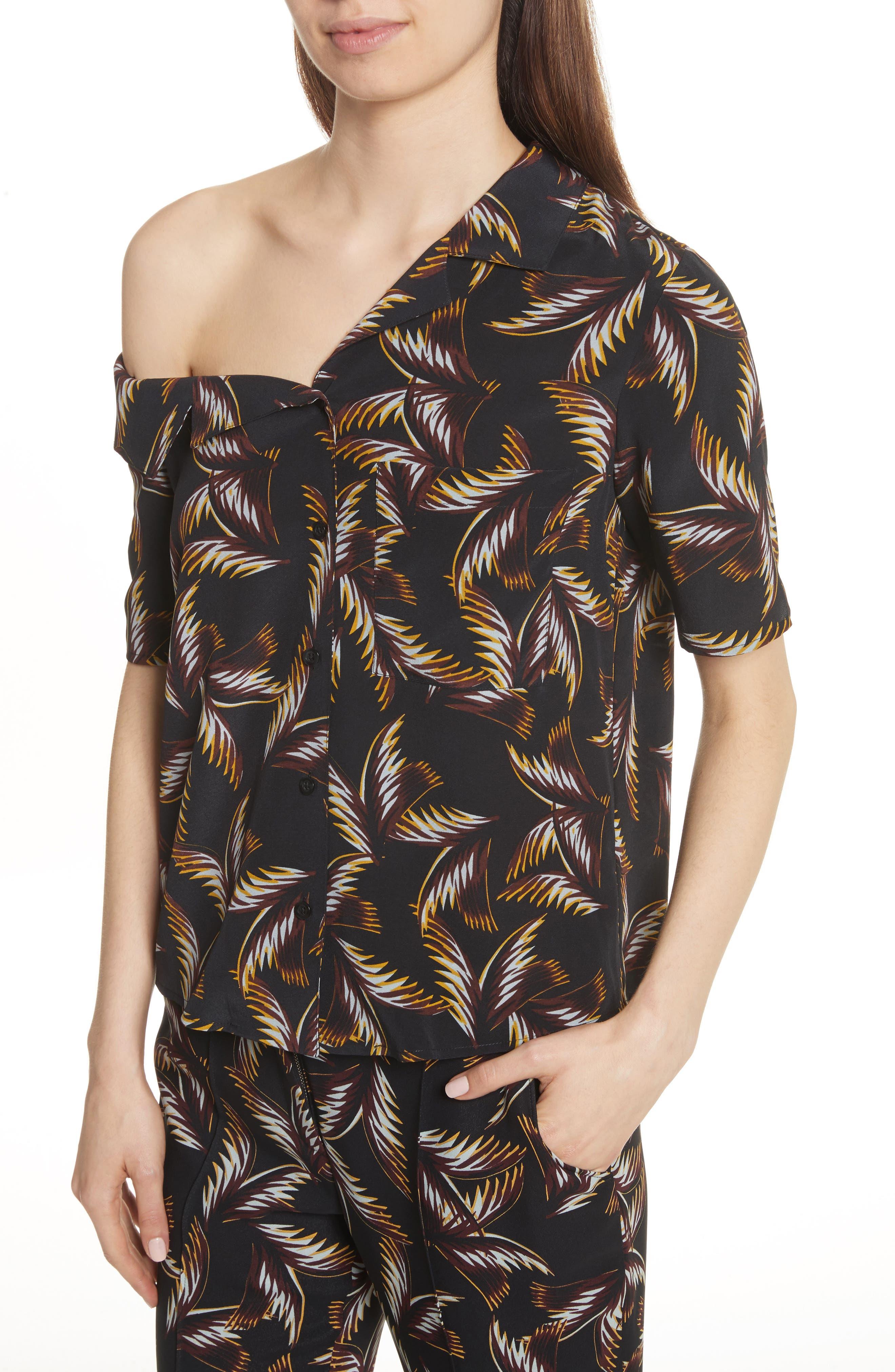 Josephine One Shoulder Print Silk Blouse,                             Alternate thumbnail 4, color,                             004