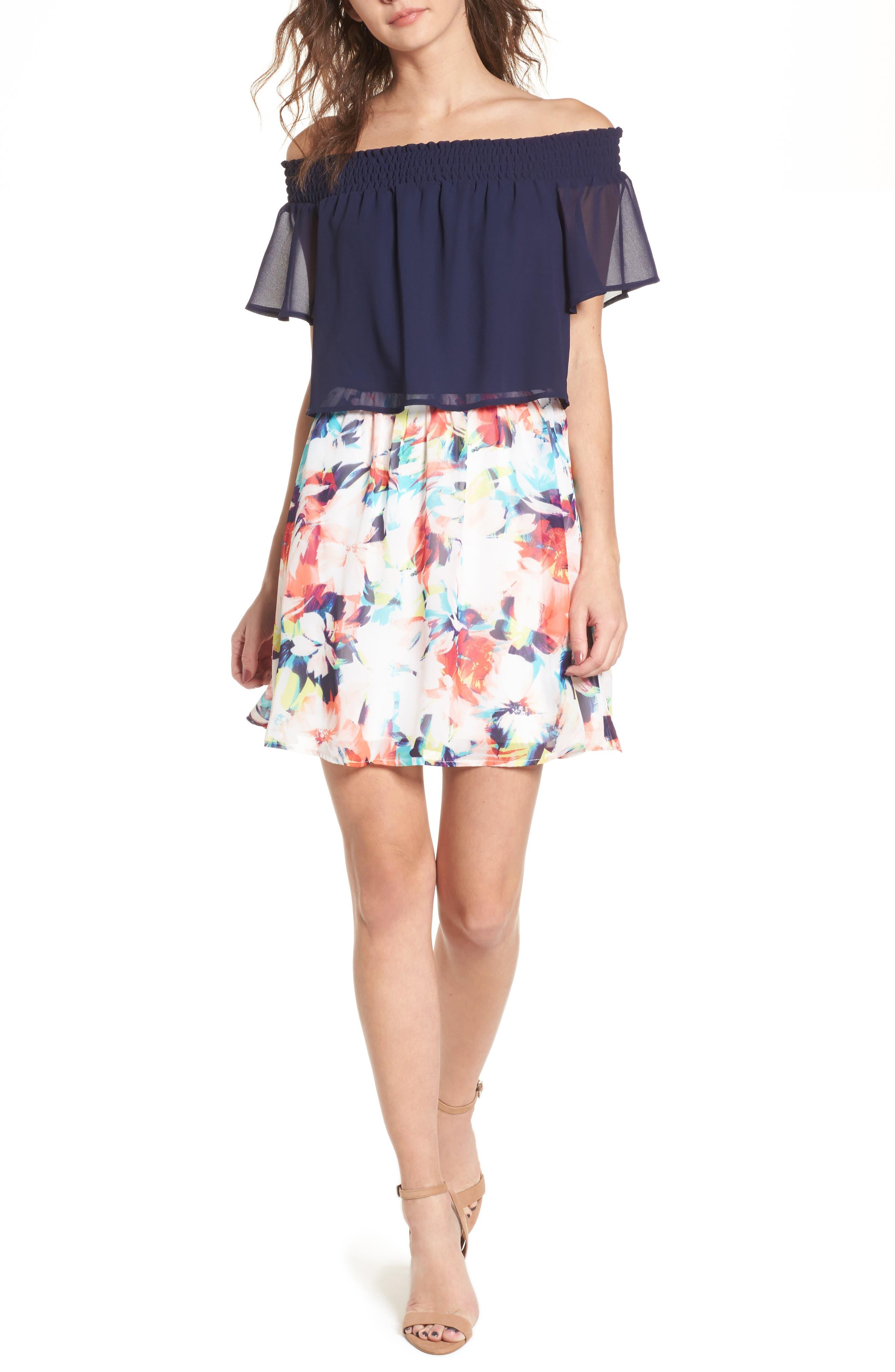 Off the Shoulder Popover Minidress,                         Main,                         color,