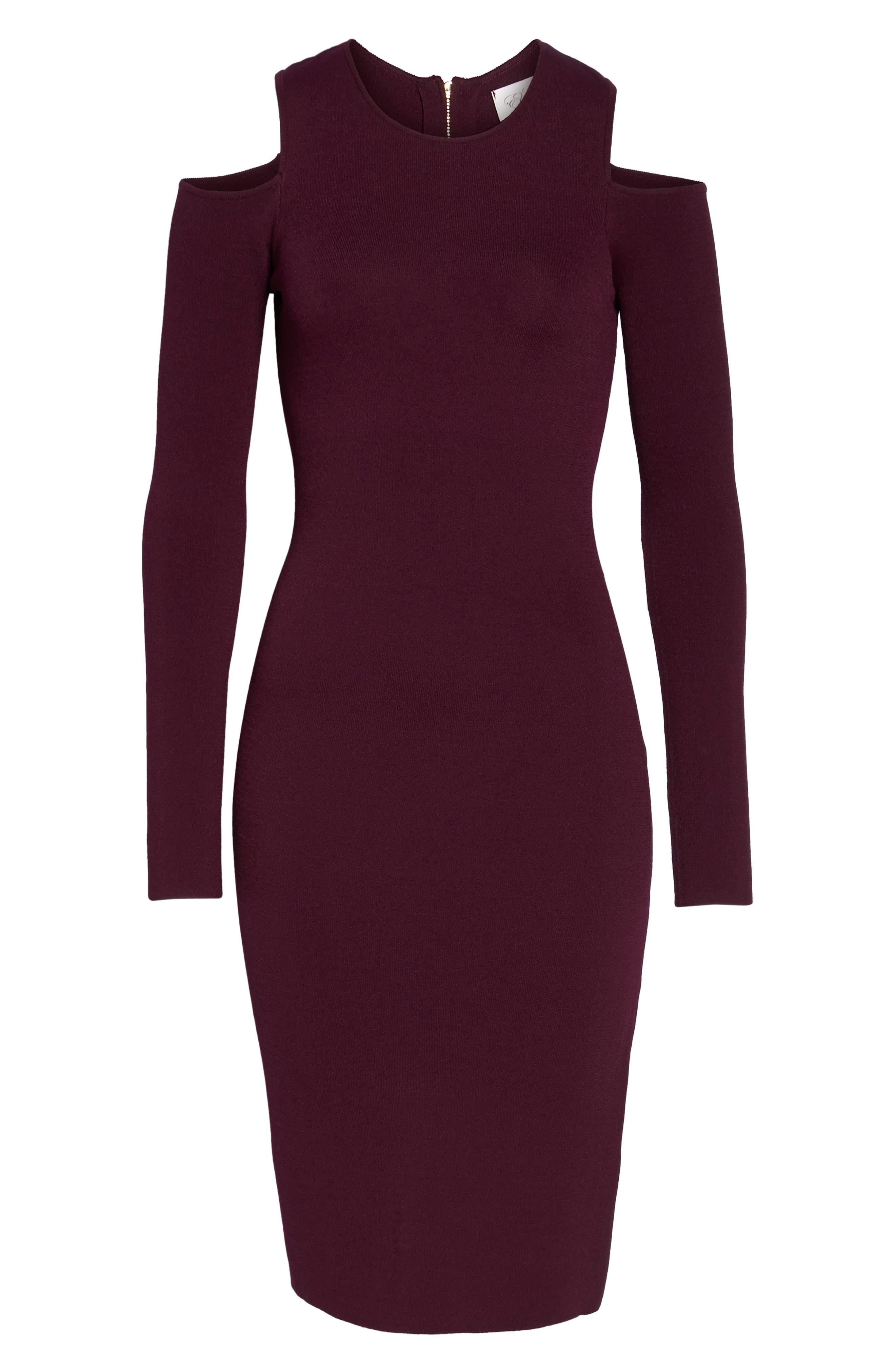 Cold Shoulder Knit Body-Con Dress,                             Alternate thumbnail 6, color,                             500