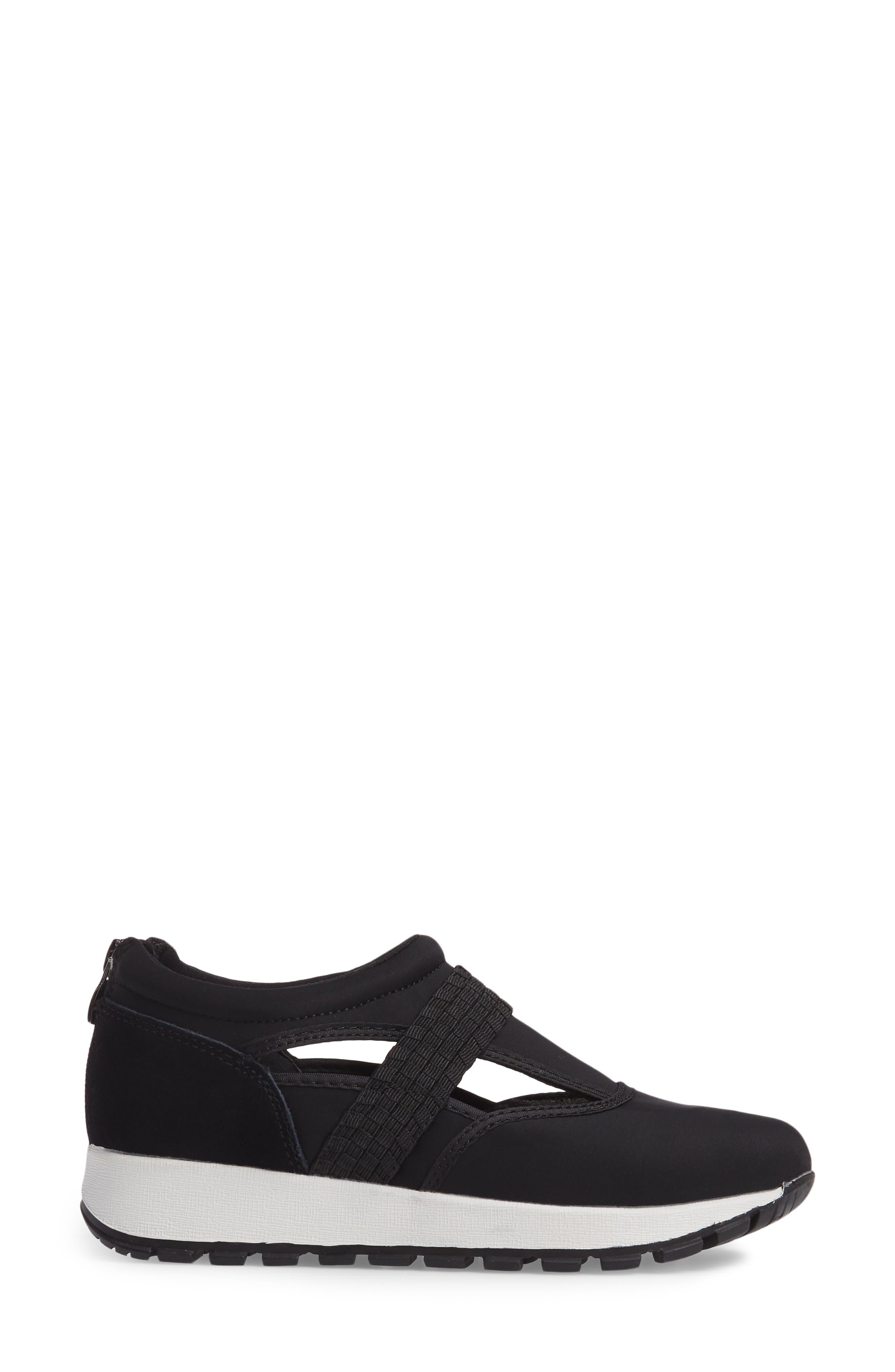 Bernie Mev Janelle Sneaker,                             Alternate thumbnail 3, color,                             BLACK FABRIC