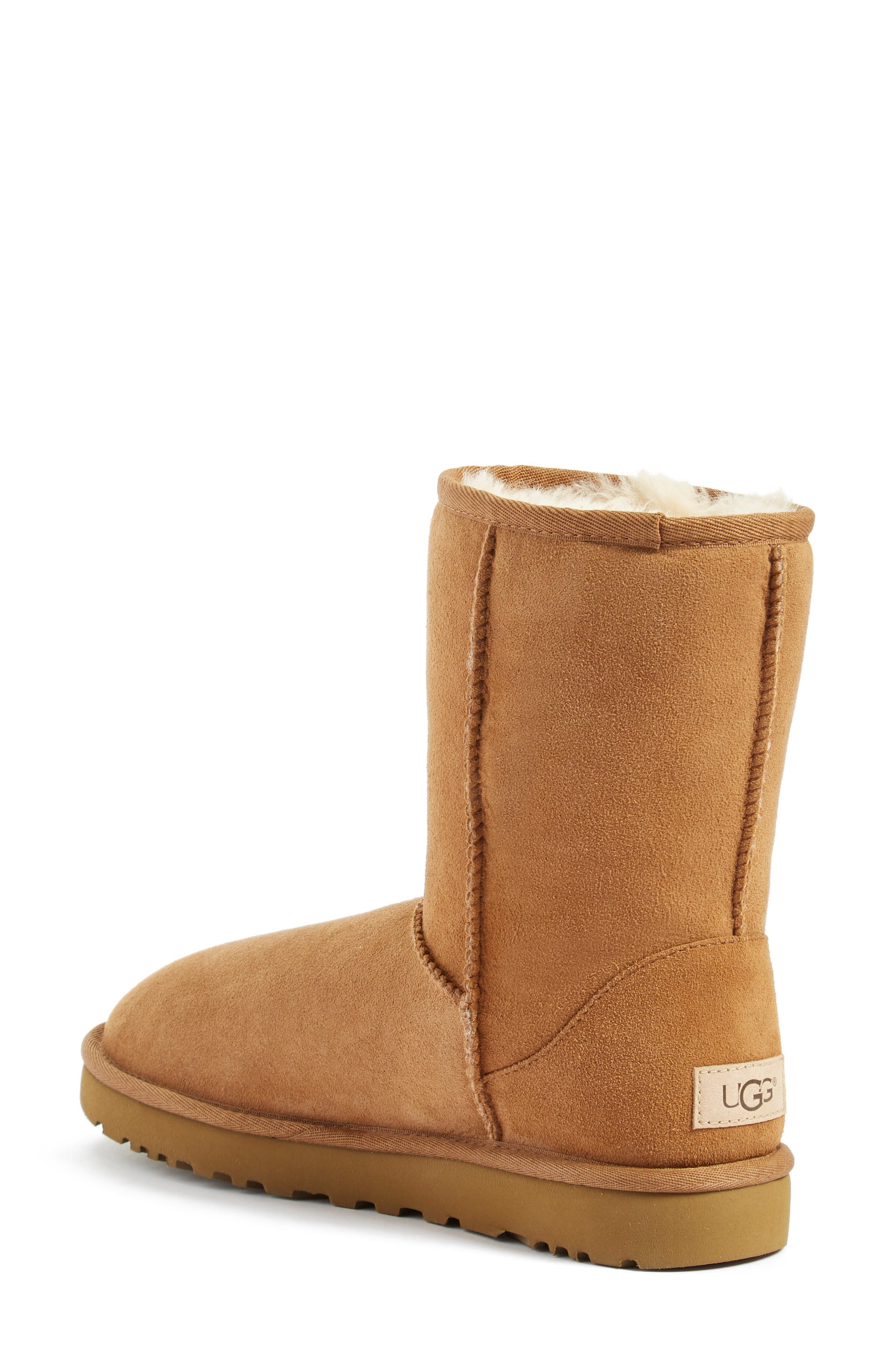 'Classic II' Genuine Shearling Lined Short Boot,                             Alternate thumbnail 2, color,                             CHESTNUT SUEDE