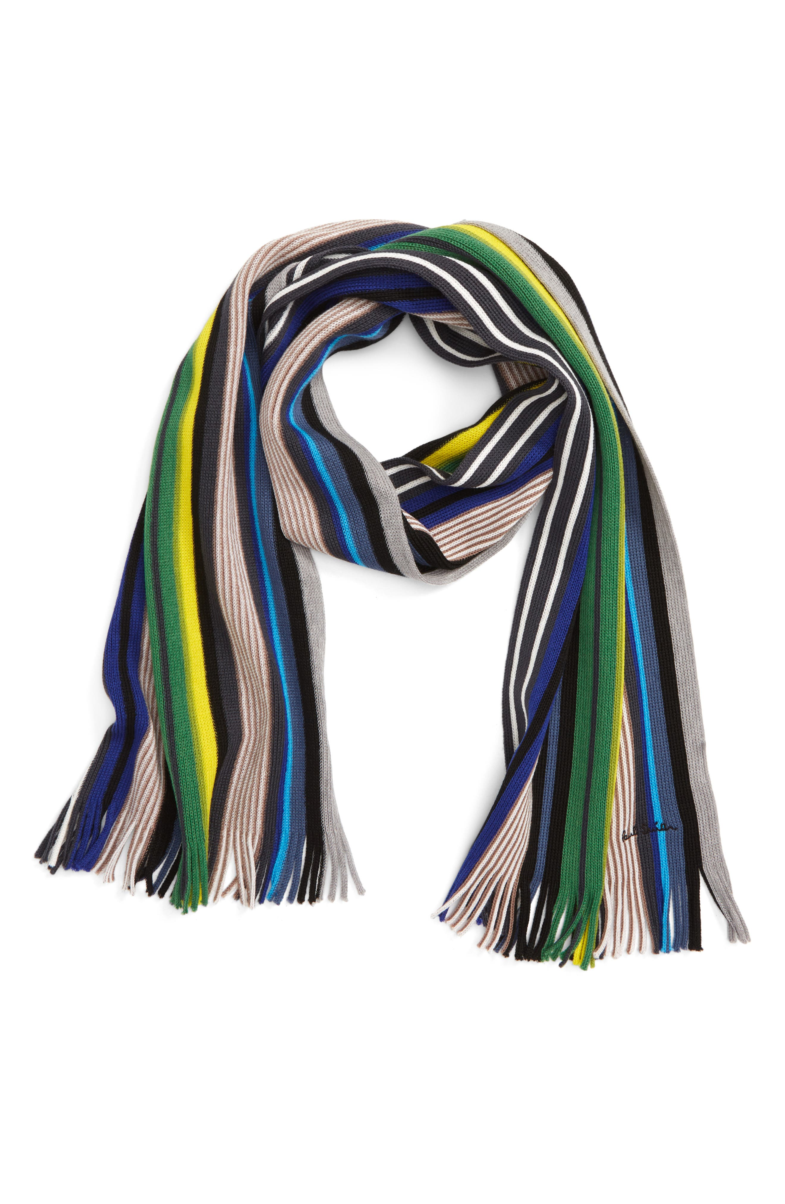 Grande Stripe Wool Scarf,                             Main thumbnail 1, color,                             028
