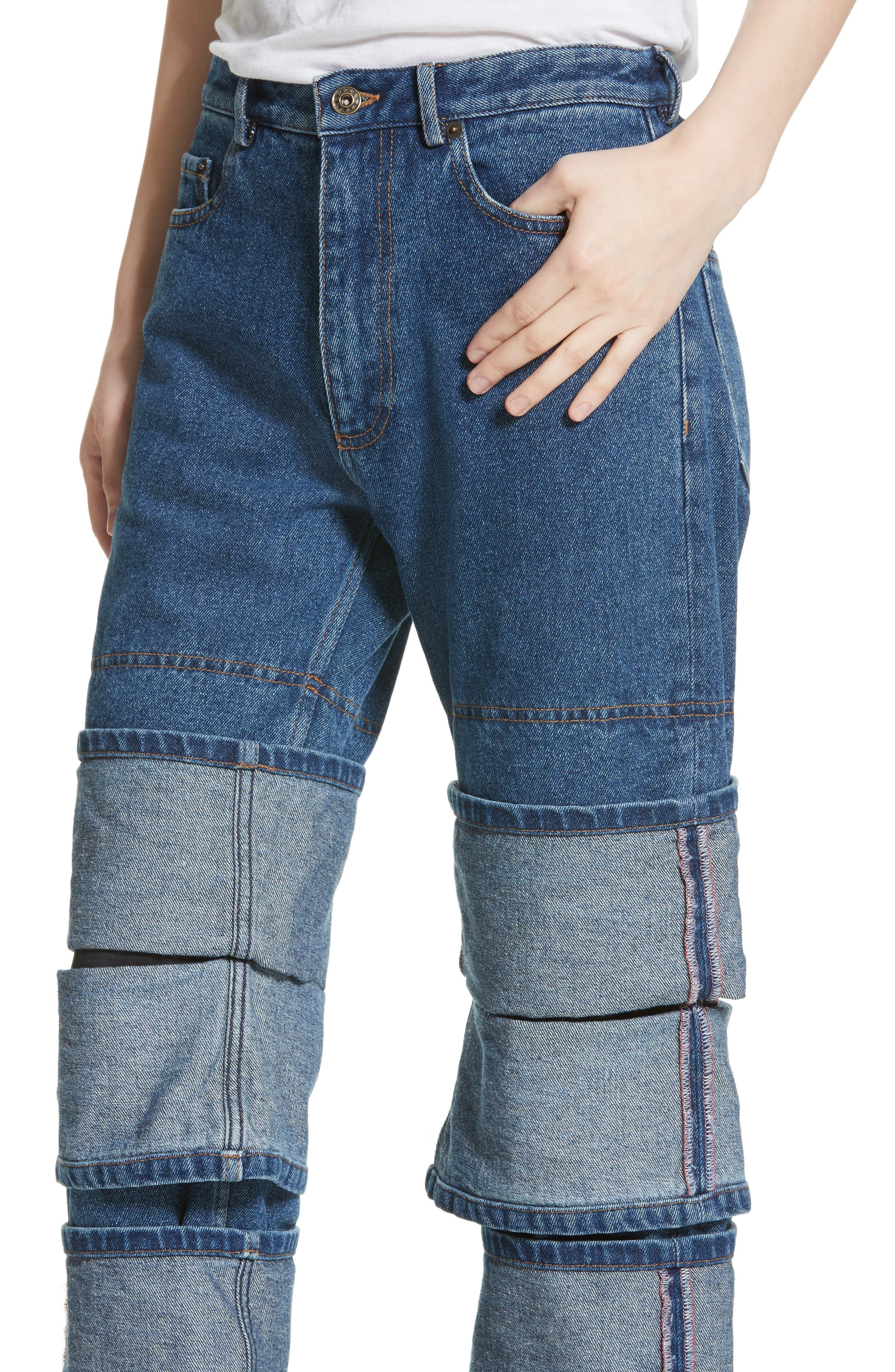 Layered Cuff Jeans,                             Alternate thumbnail 4, color,                             410