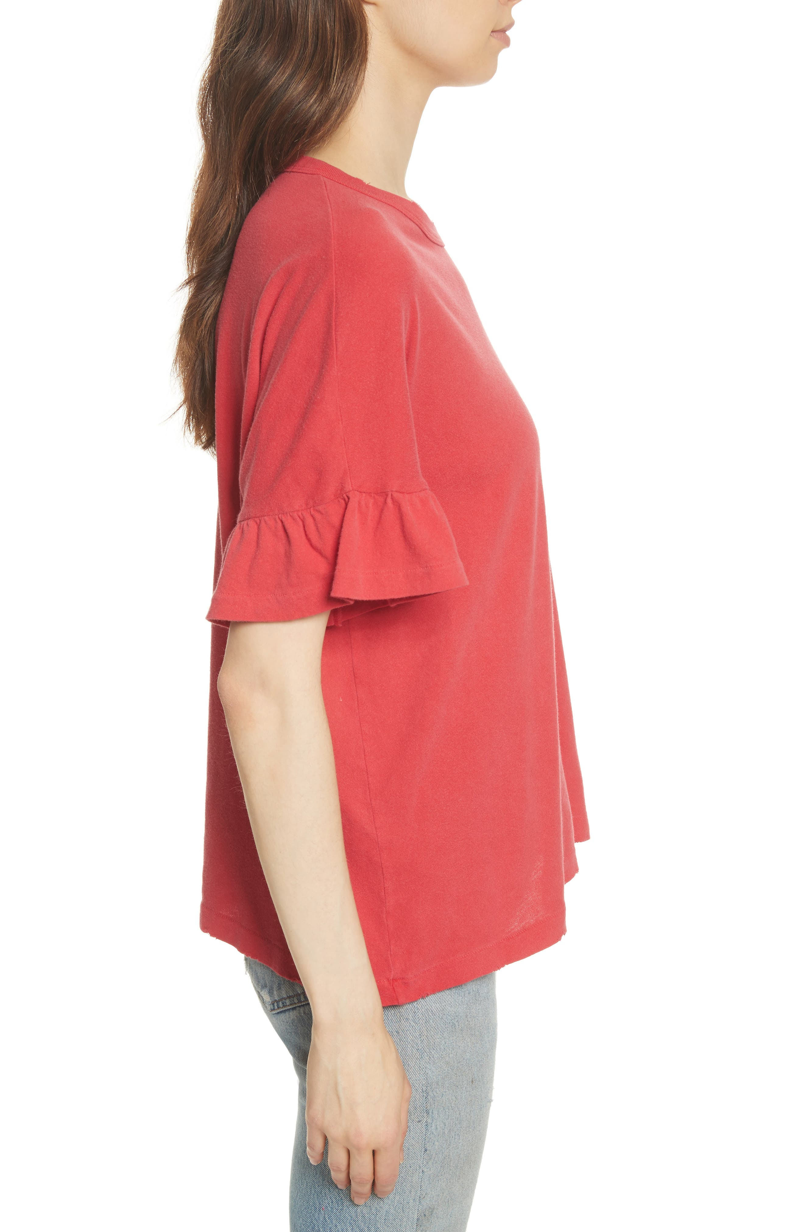 The Ruffle Sleeve Tee,                             Alternate thumbnail 3, color,                             600