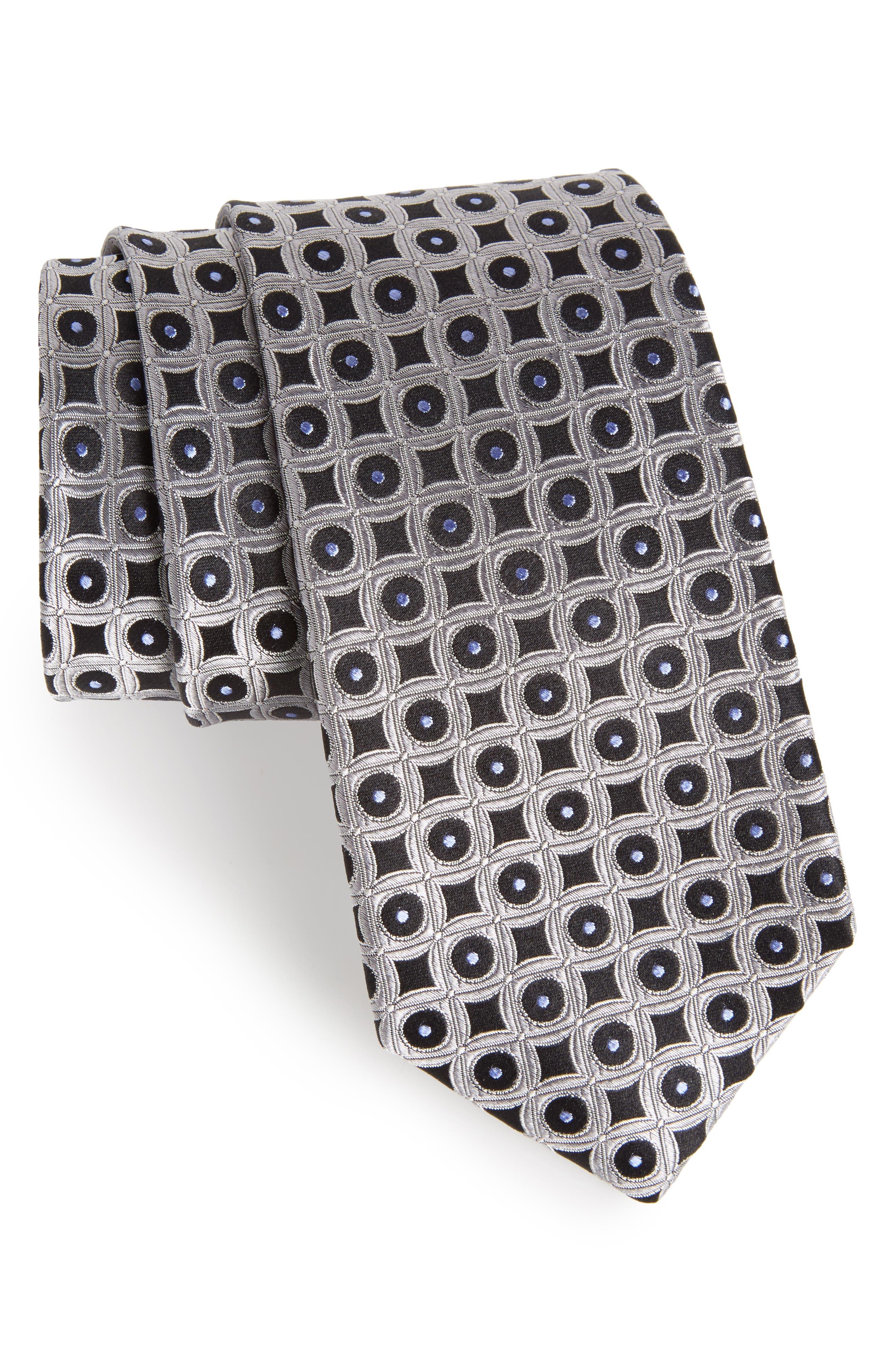 Criss Cross Geometric Silk Tie,                         Main,                         color, 040