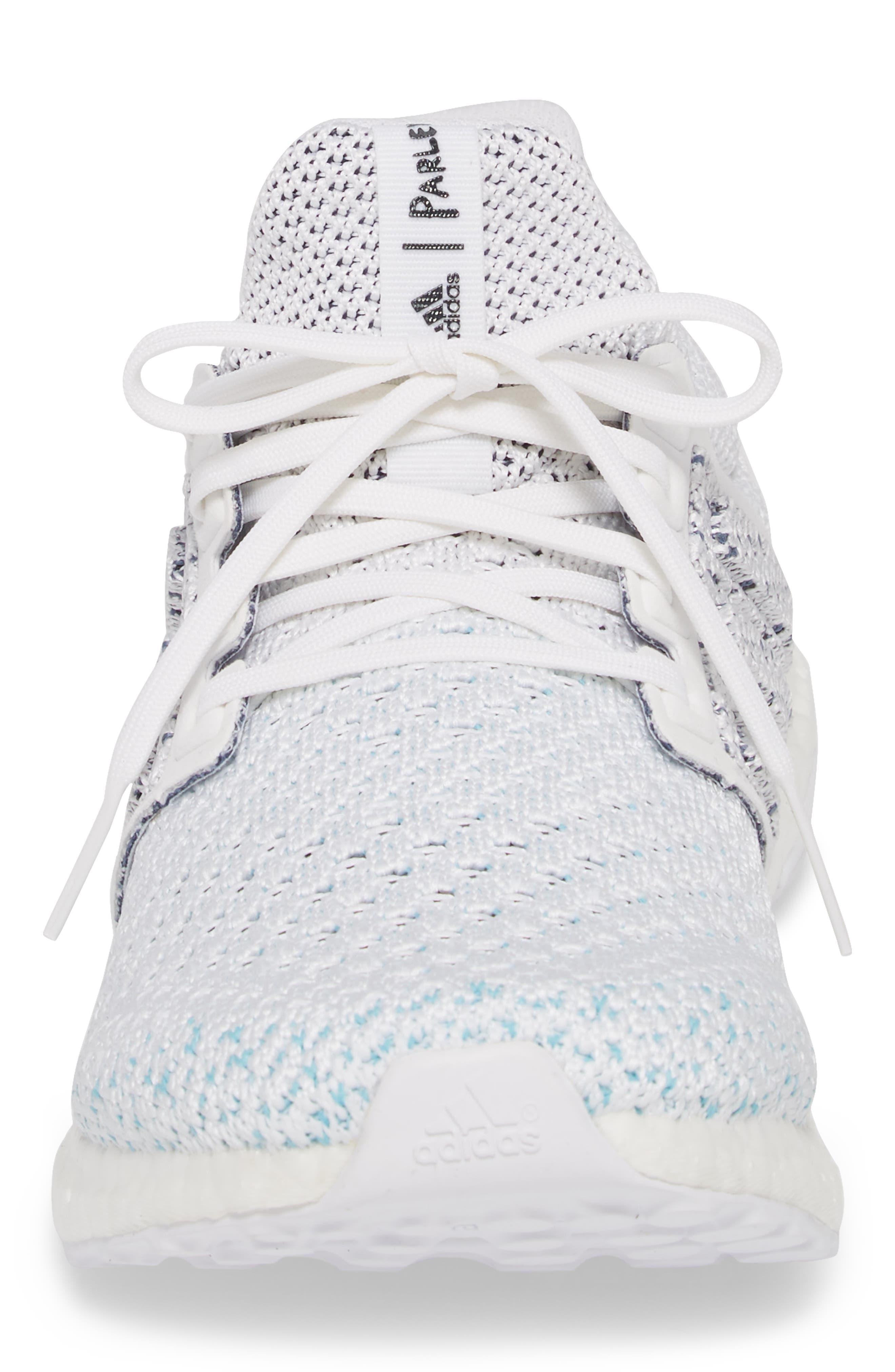 Parley UltraBoost Sneaker,                             Alternate thumbnail 4, color,                             WHITE/ BLUE SPIRIT