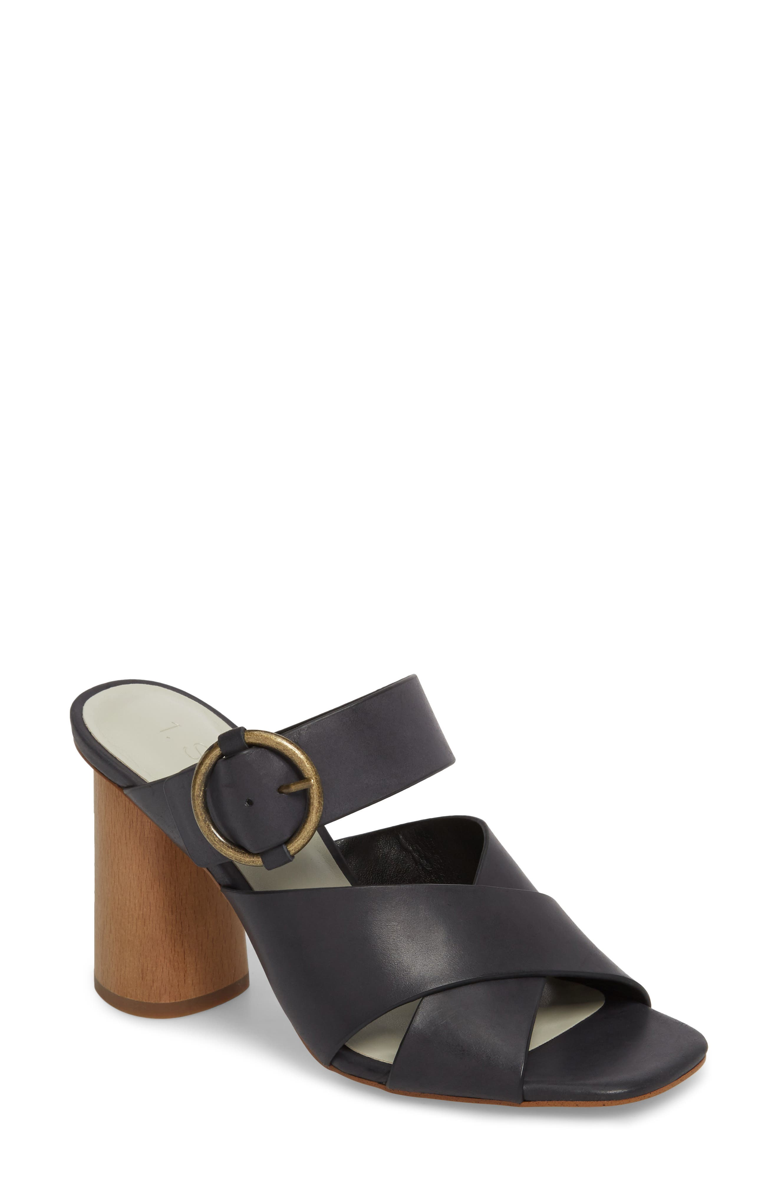 Icendra Flared Heel Mule Sandal,                             Main thumbnail 1, color,                             BLACK LEATHER