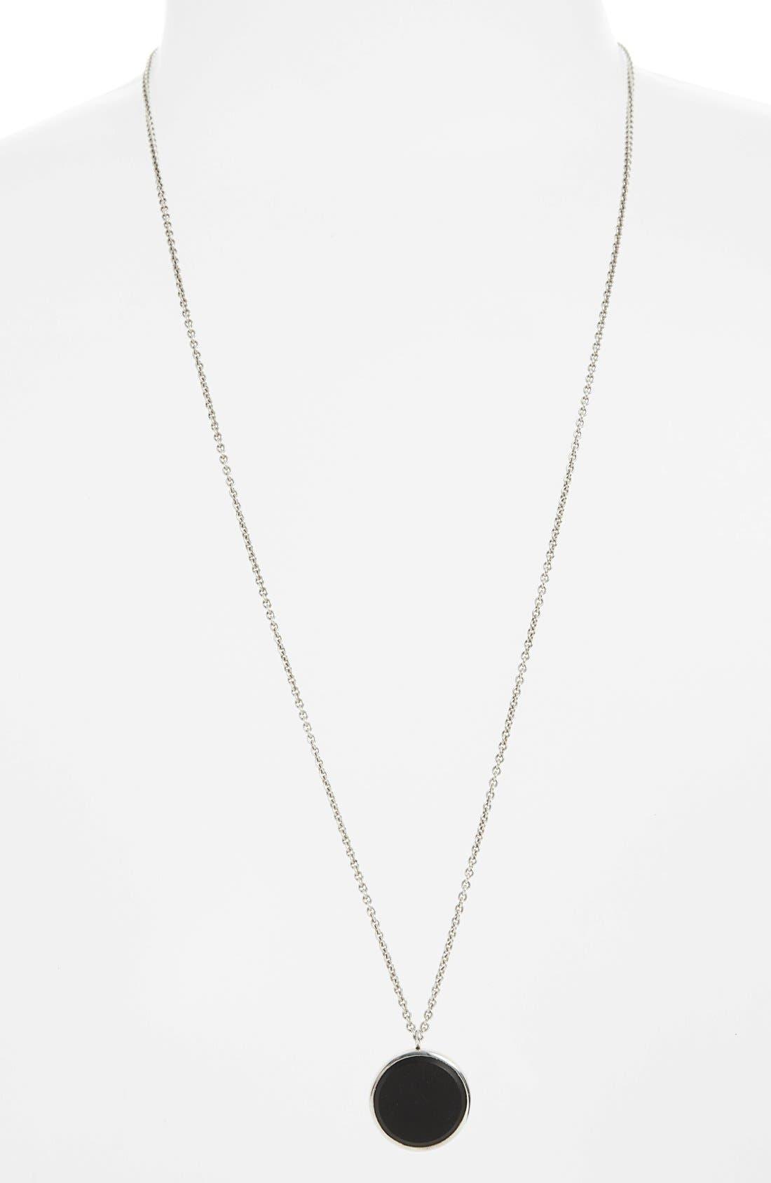 Black Onyx Medallion Necklace,                             Alternate thumbnail 3, color,                             SILVER