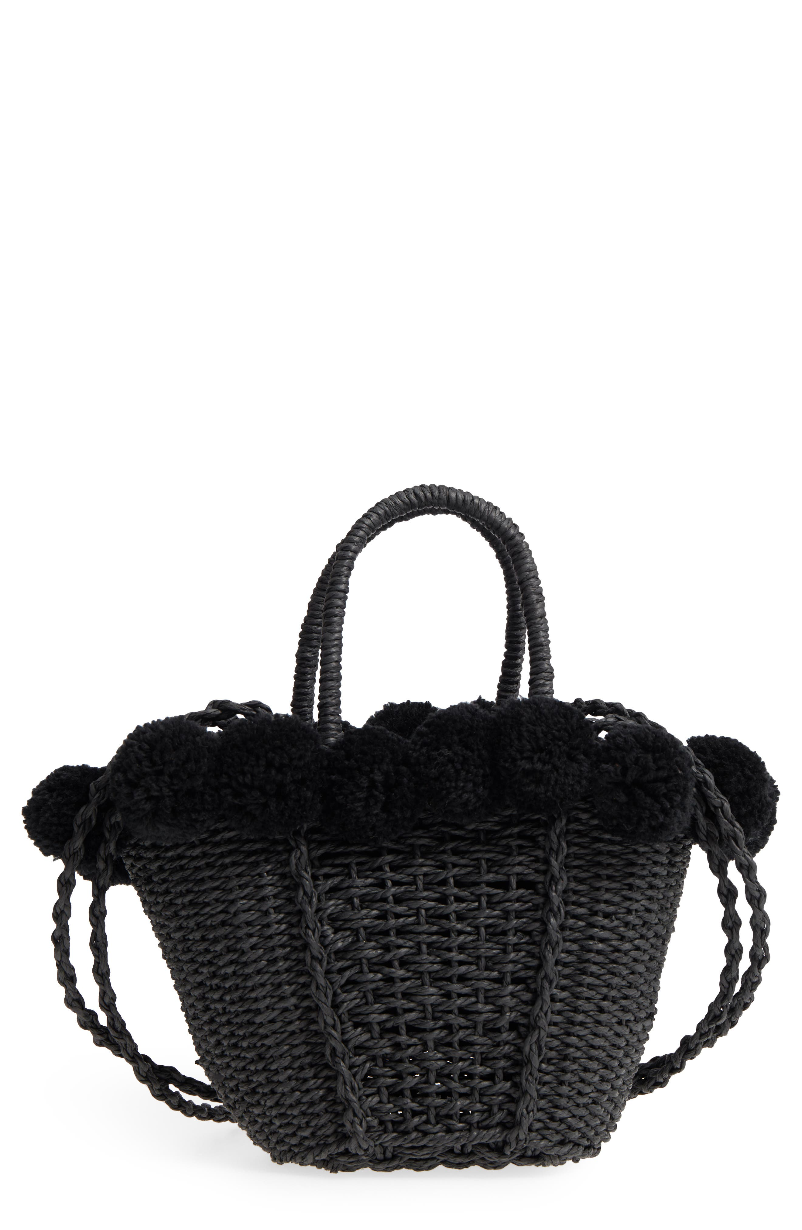 Sia Pom Straw Shopper Bag,                             Main thumbnail 1, color,                             001