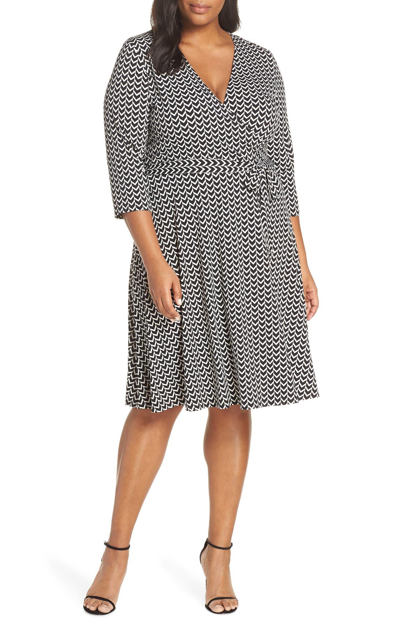 Wrap Dress,                         Main,                         color, HERRINGBONE-BLACK