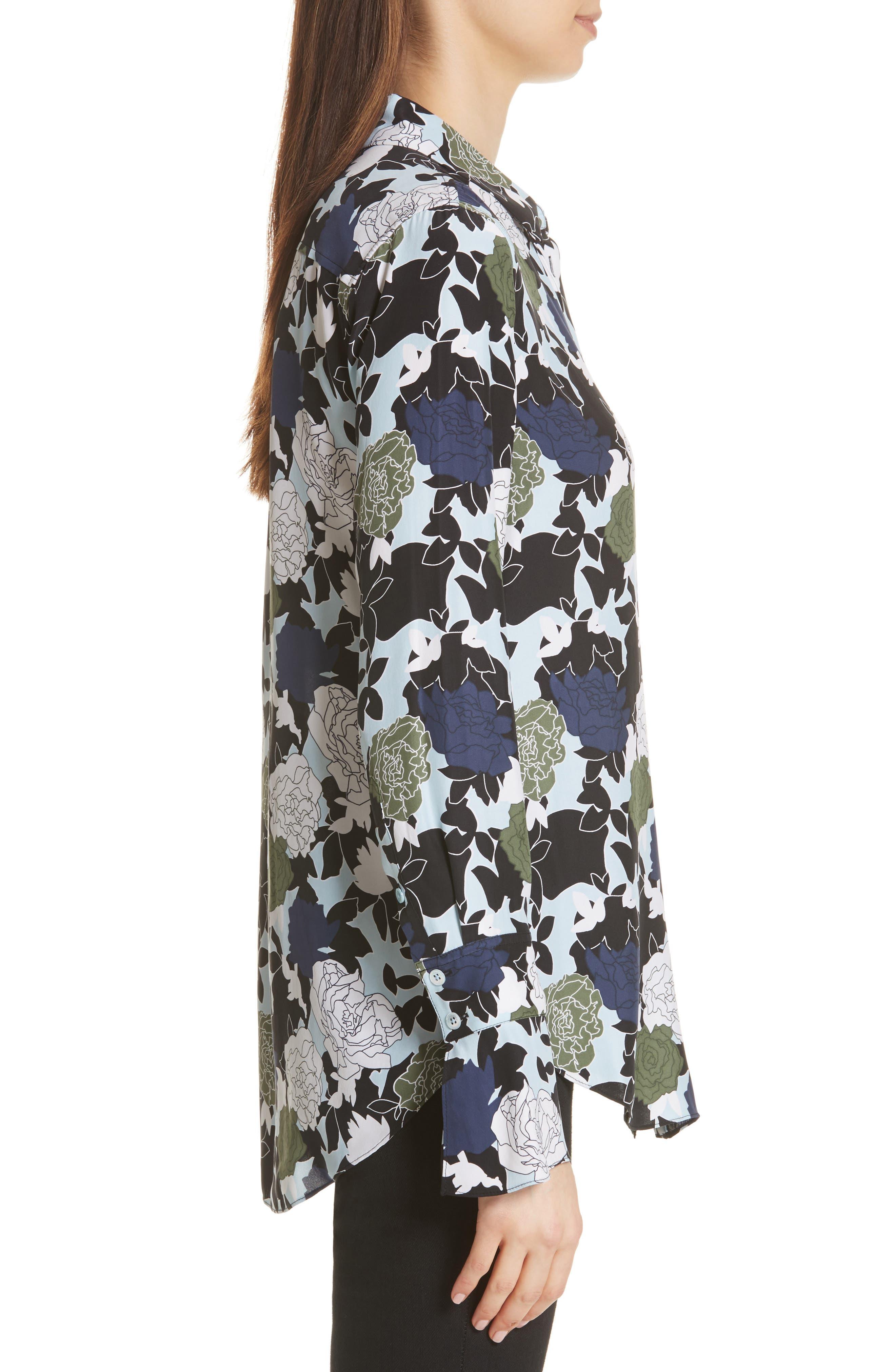 Daphne Floral Silk Shirt,                             Alternate thumbnail 3, color,                             COOL BREEZE MULTI