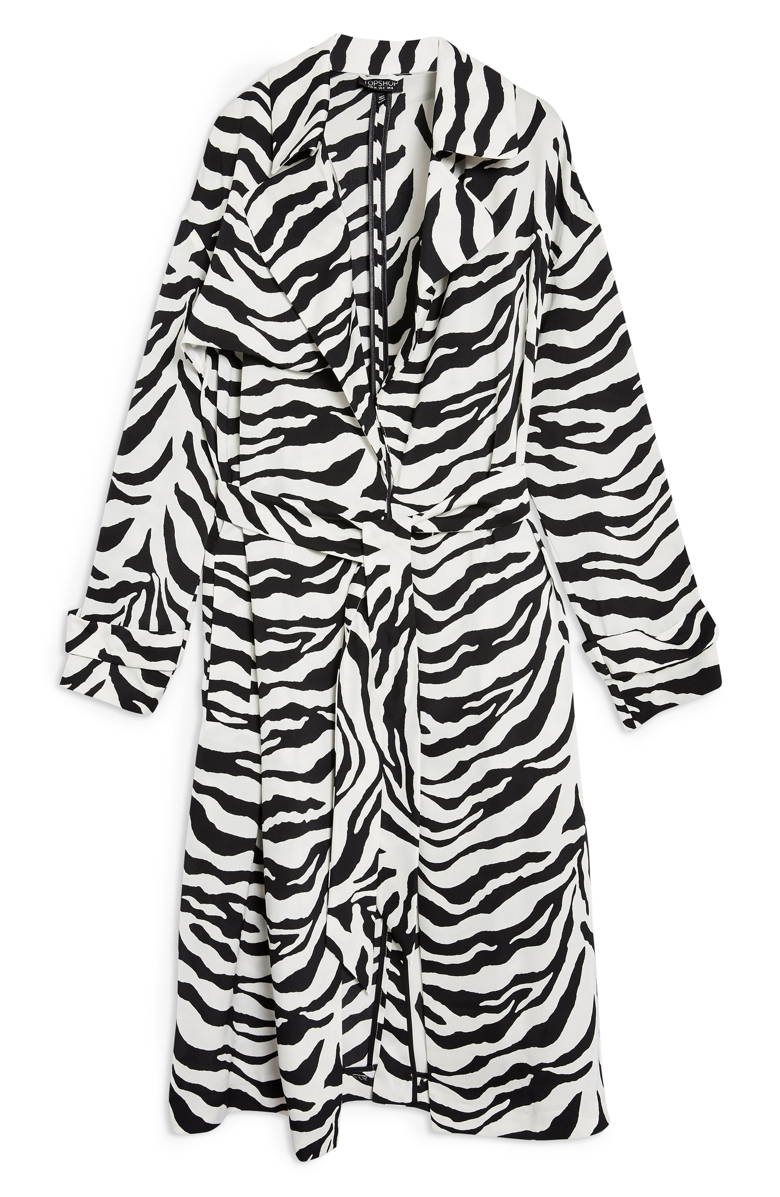 Zebra Print Duster Jacket,                             Alternate thumbnail 4, color,                             100
