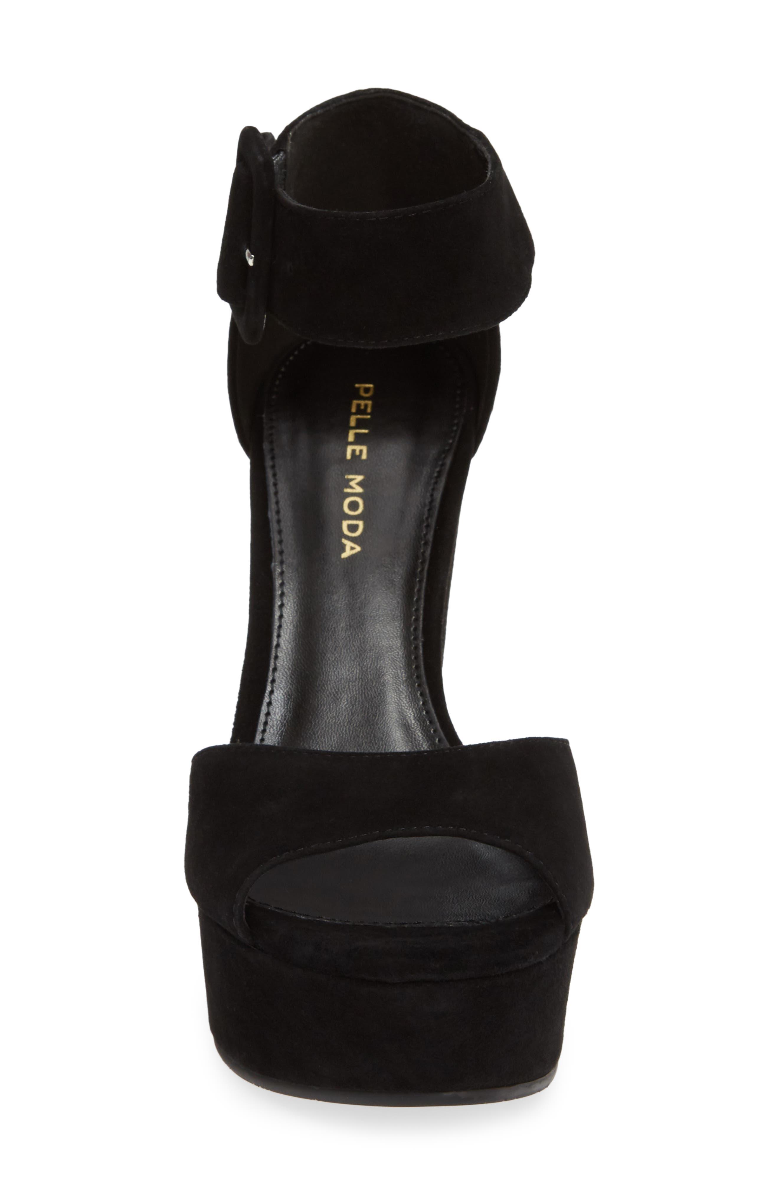 Ojai Platform Wedge Sandal,                             Alternate thumbnail 4, color,                             BLACK SUEDE