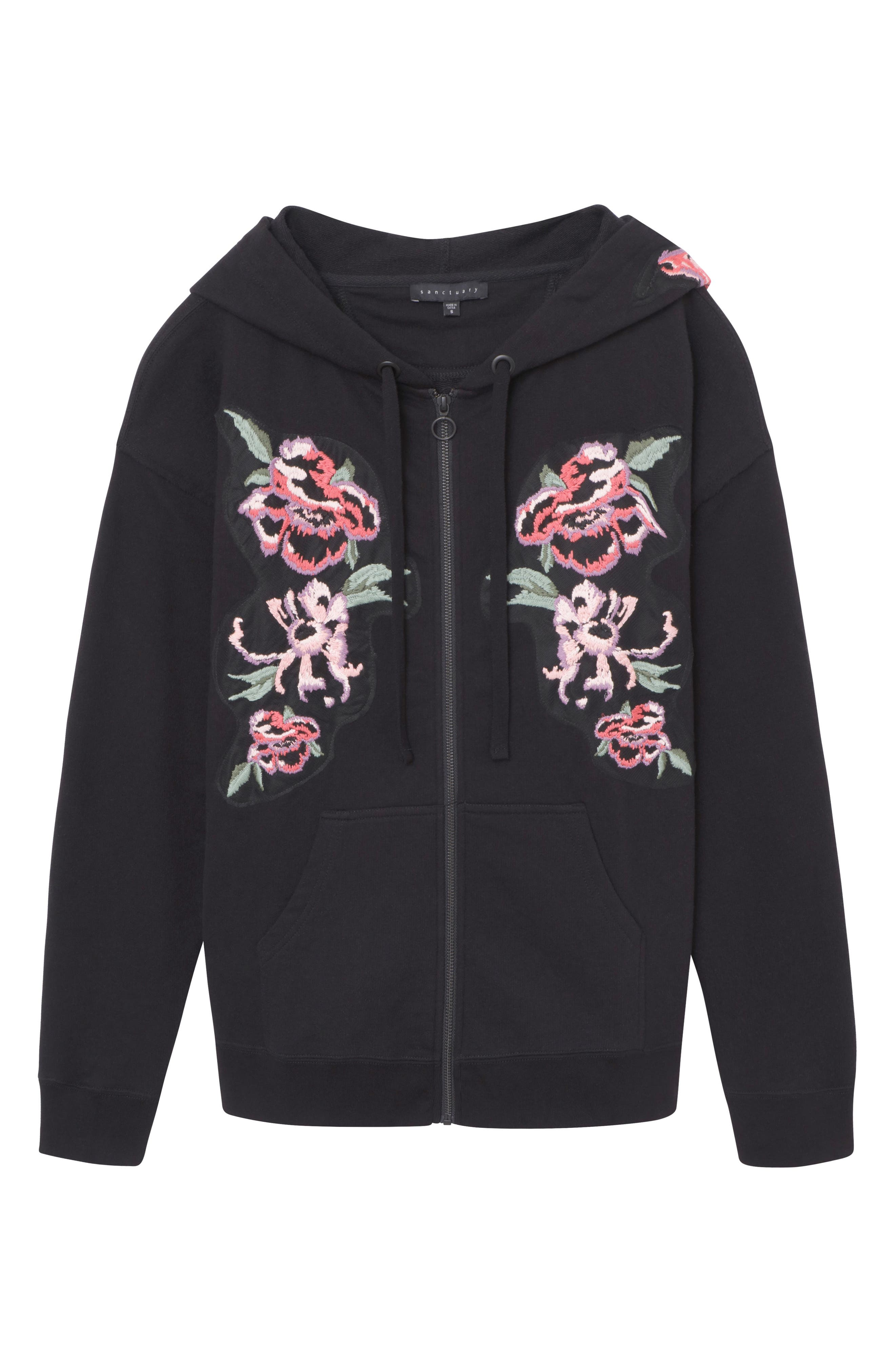 Embroidered Boyfriend Hoodie,                             Alternate thumbnail 4, color,                             001