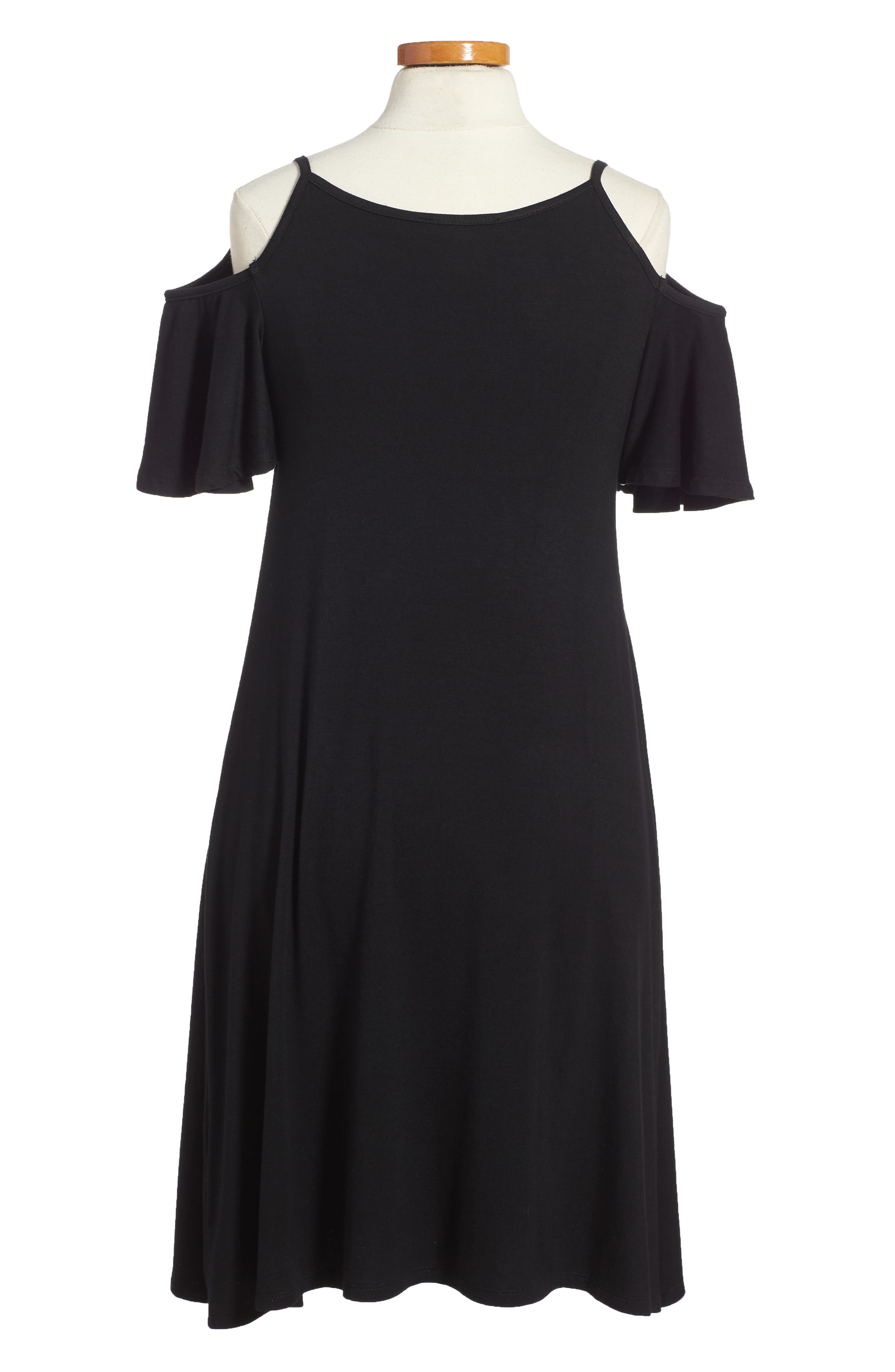 Regine Cold Shoulder Dress,                             Alternate thumbnail 2, color,                             001