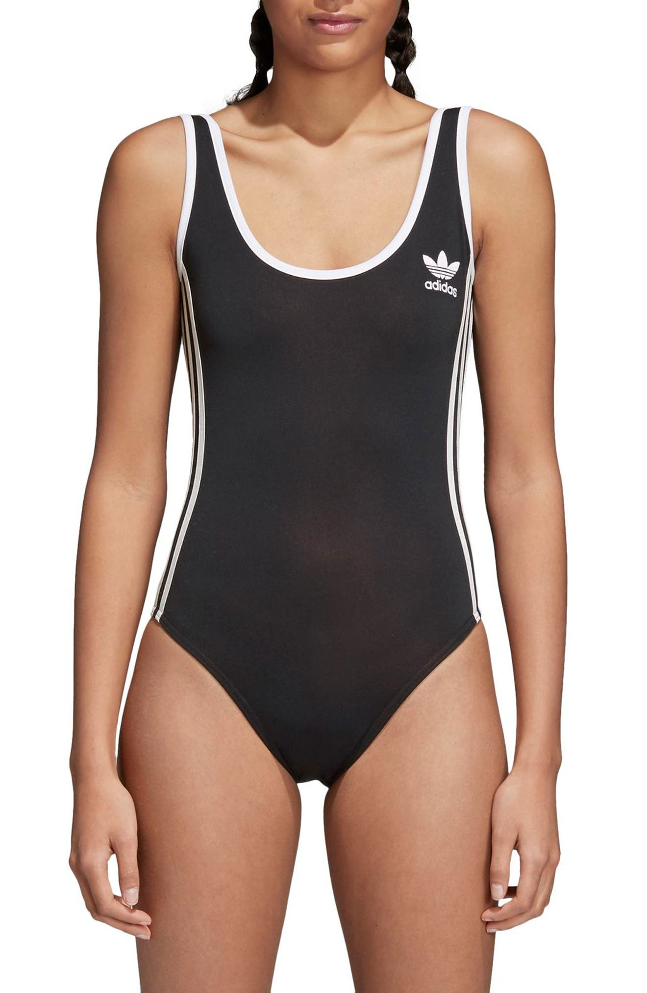 3-Stripes Bodysuit,                             Main thumbnail 1, color,                             BLACK