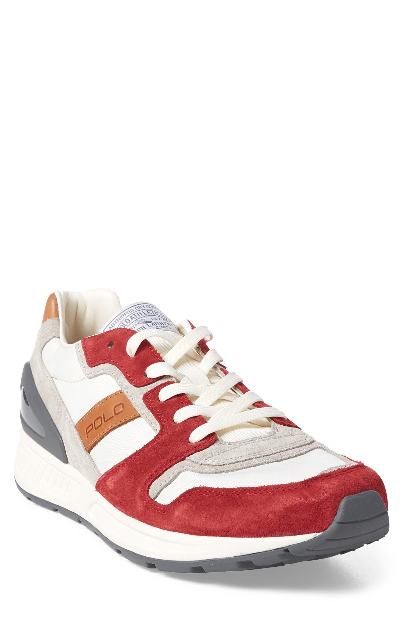 Train 100 Retro Sneaker,                             Main thumbnail 1, color,                             RED NYLON/ SUEDE