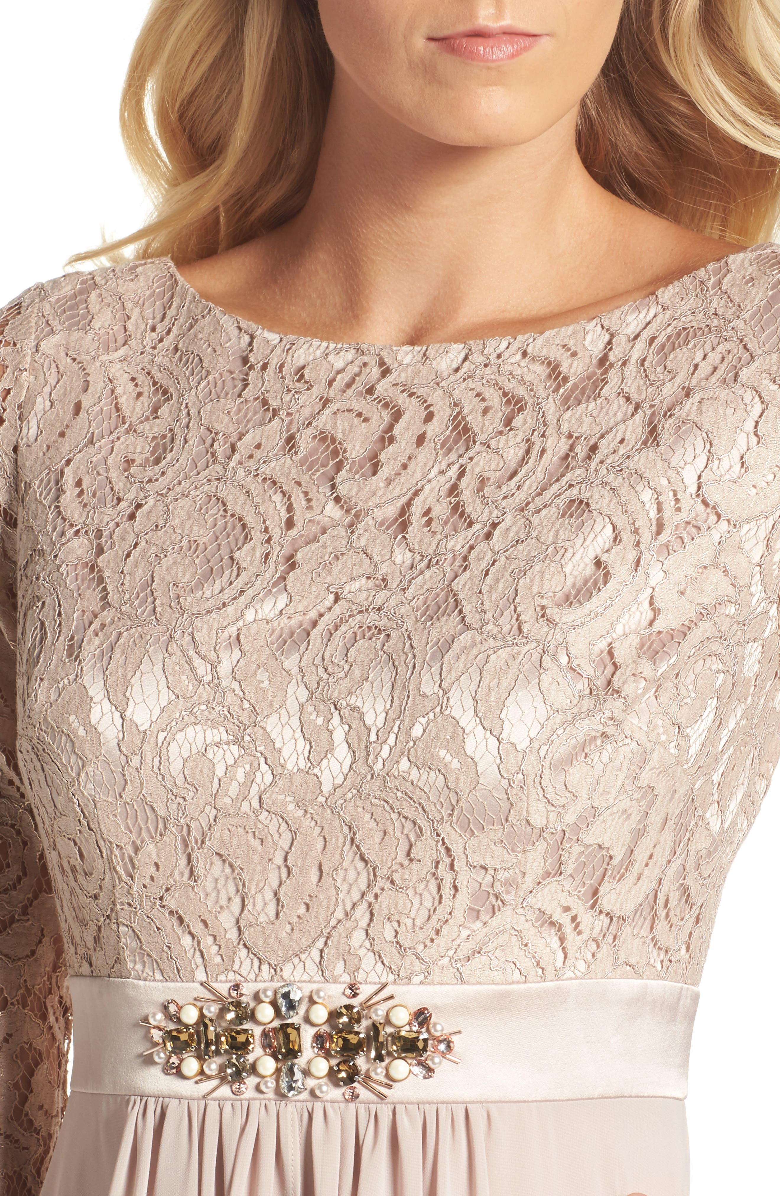 Embellished Lace & Chiffon Gown,                             Alternate thumbnail 5, color,                             256