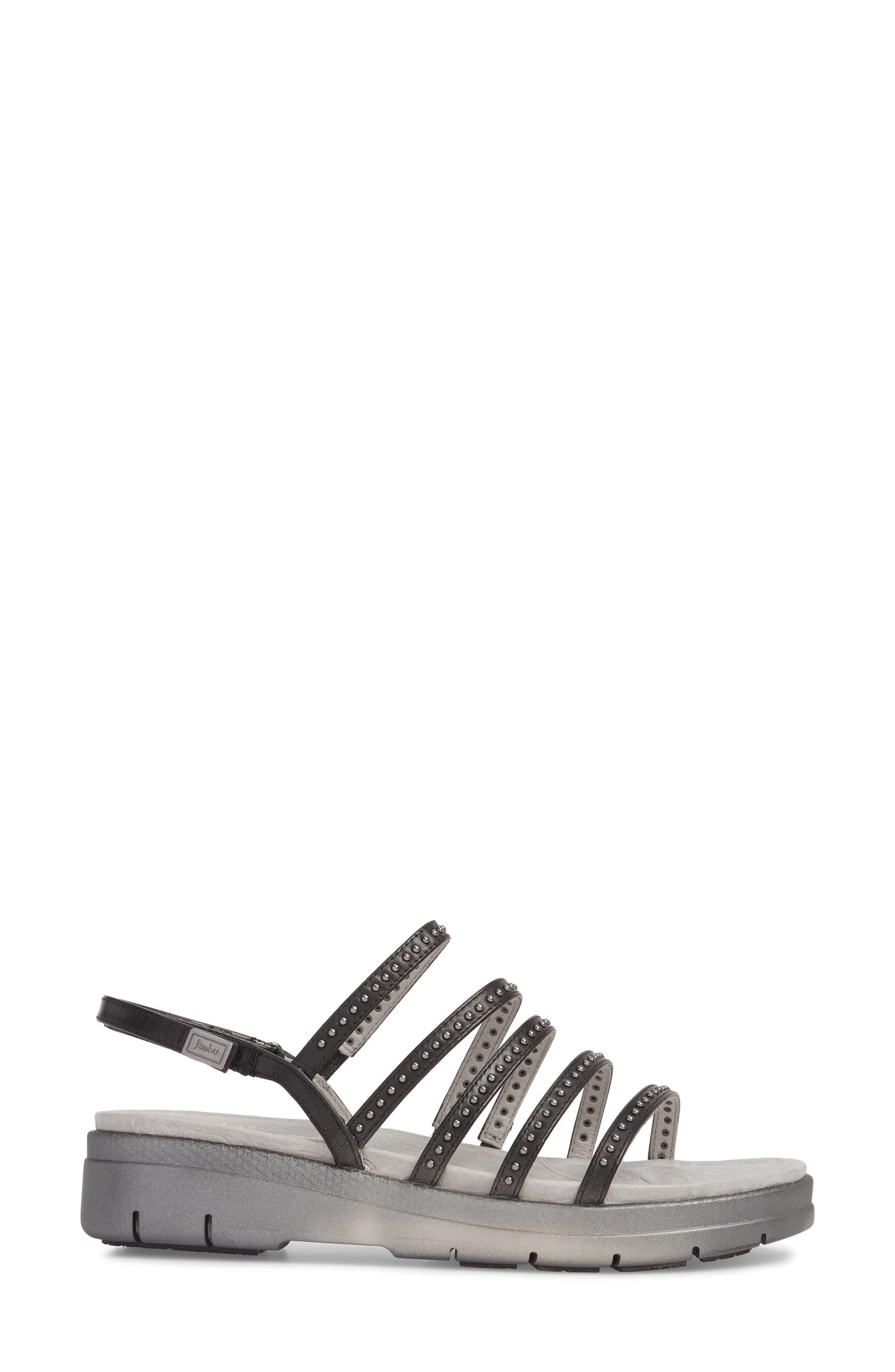 Elegance Studded Strappy Sandal,                             Alternate thumbnail 3, color,                             BLACK LEATHER