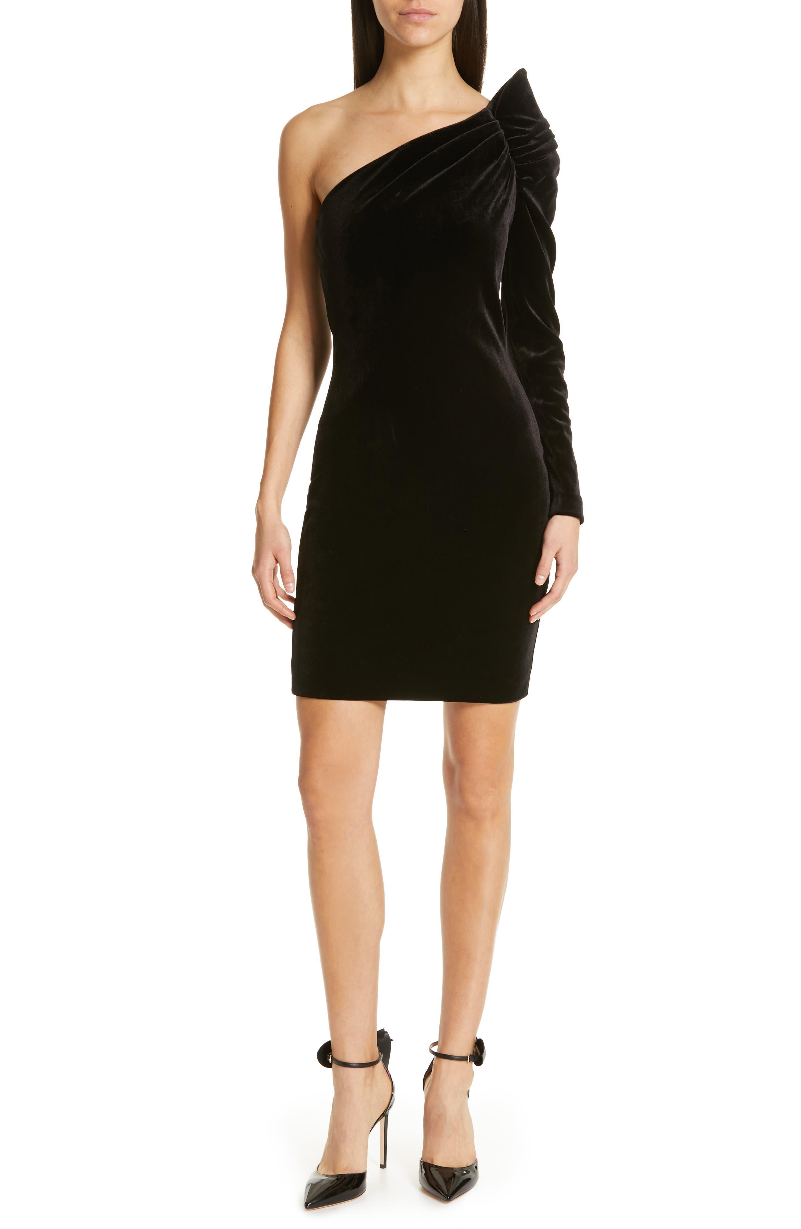 Awwtum One-Shoulder Velvet Body-Con Dress,                             Main thumbnail 1, color,                             BLACK