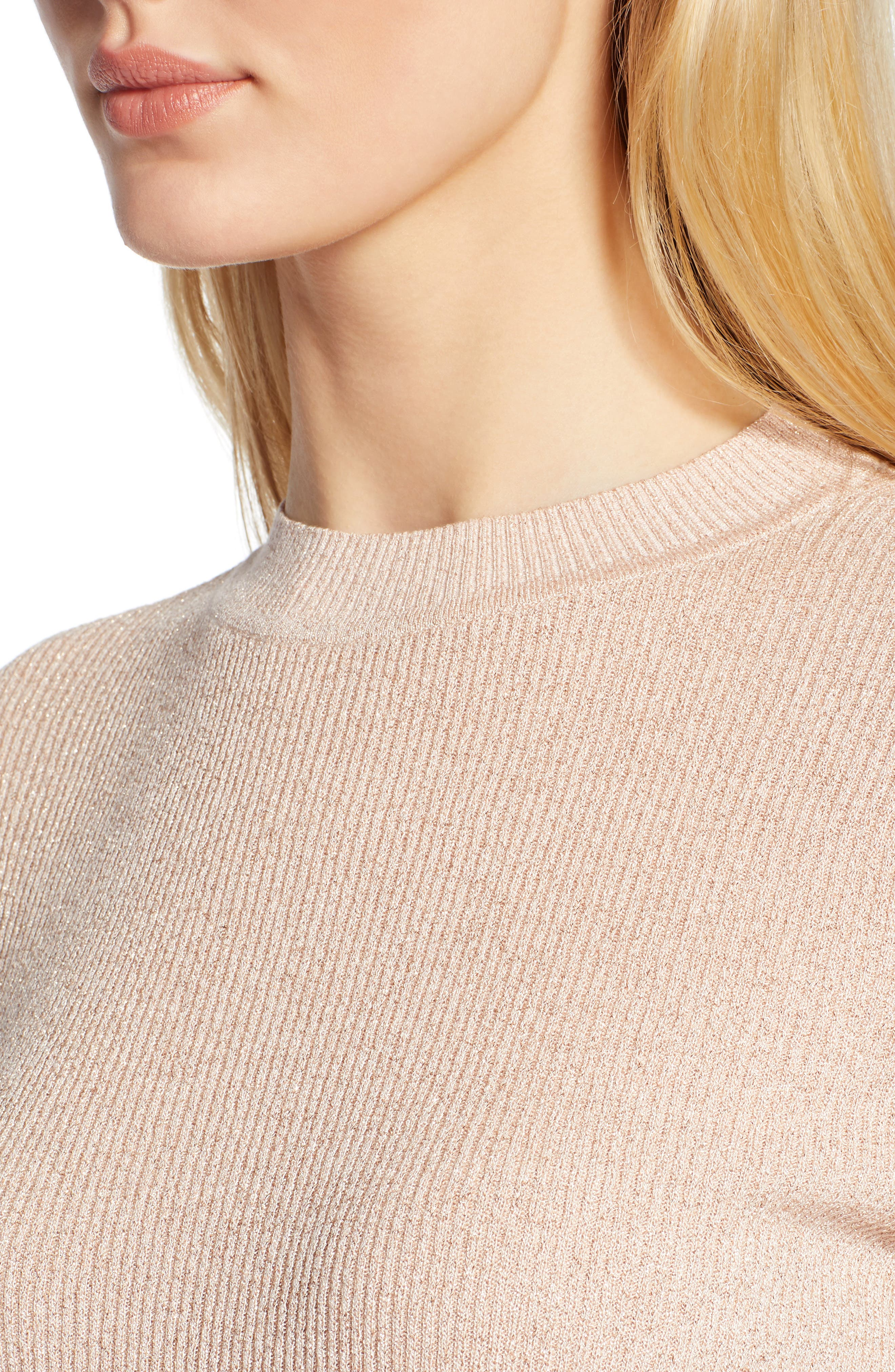 x Atlantic-Pacific Ribbed Shimmer Top,                             Alternate thumbnail 4, color,                             PINK GLOW