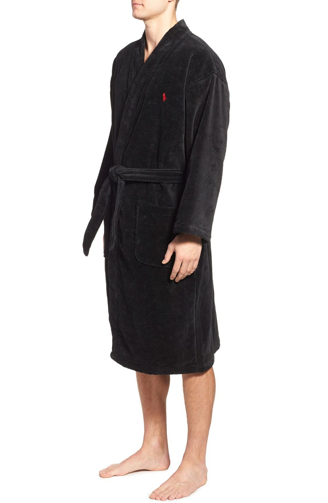 Cotton Fleece Robe,                             Alternate thumbnail 3, color,                             POLO BLACK