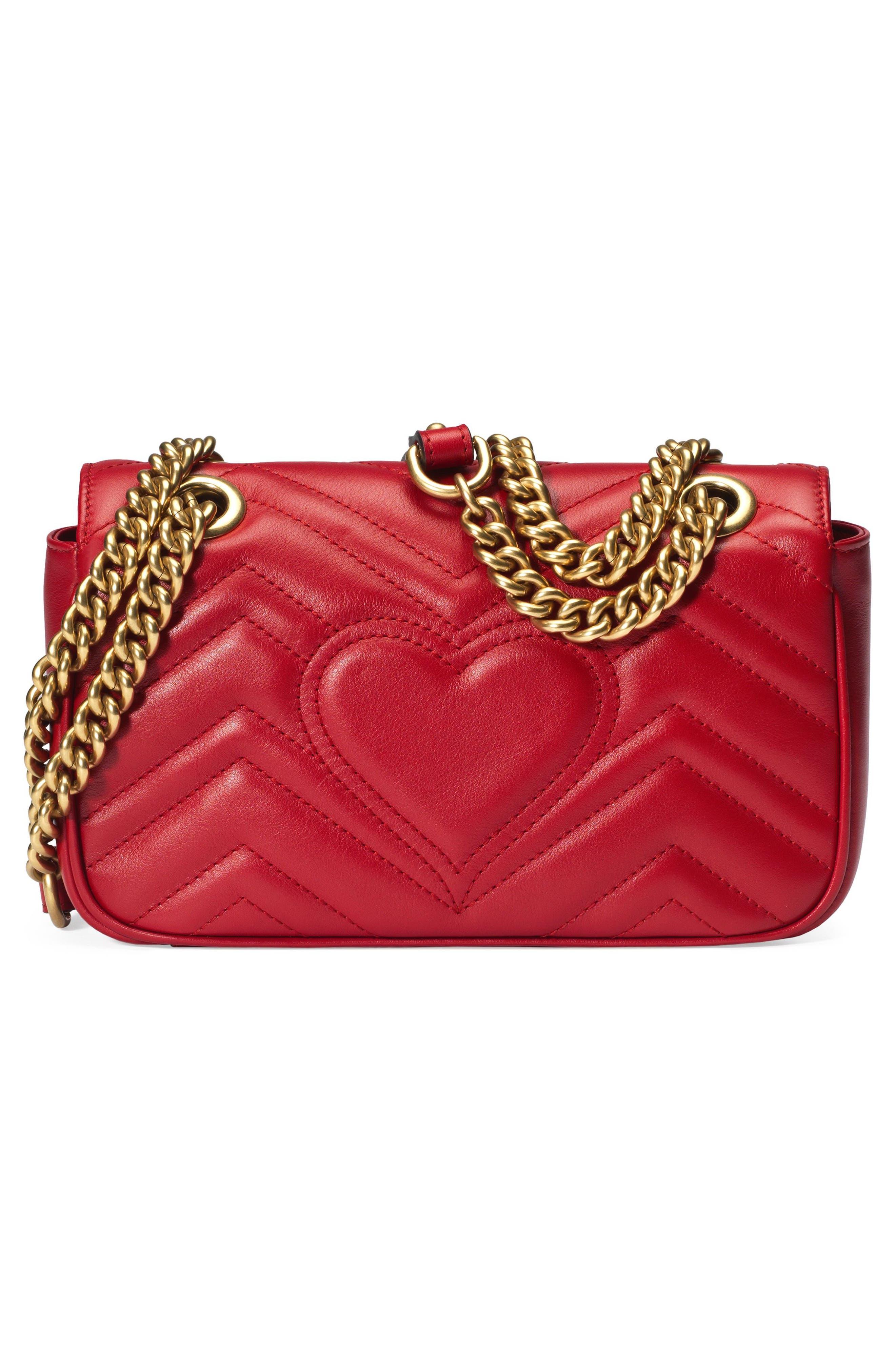 Mini GG Marmont 2.0 Matelassé Leather Shoulder Bag,                             Alternate thumbnail 3, color,                             HIBISCUS RED