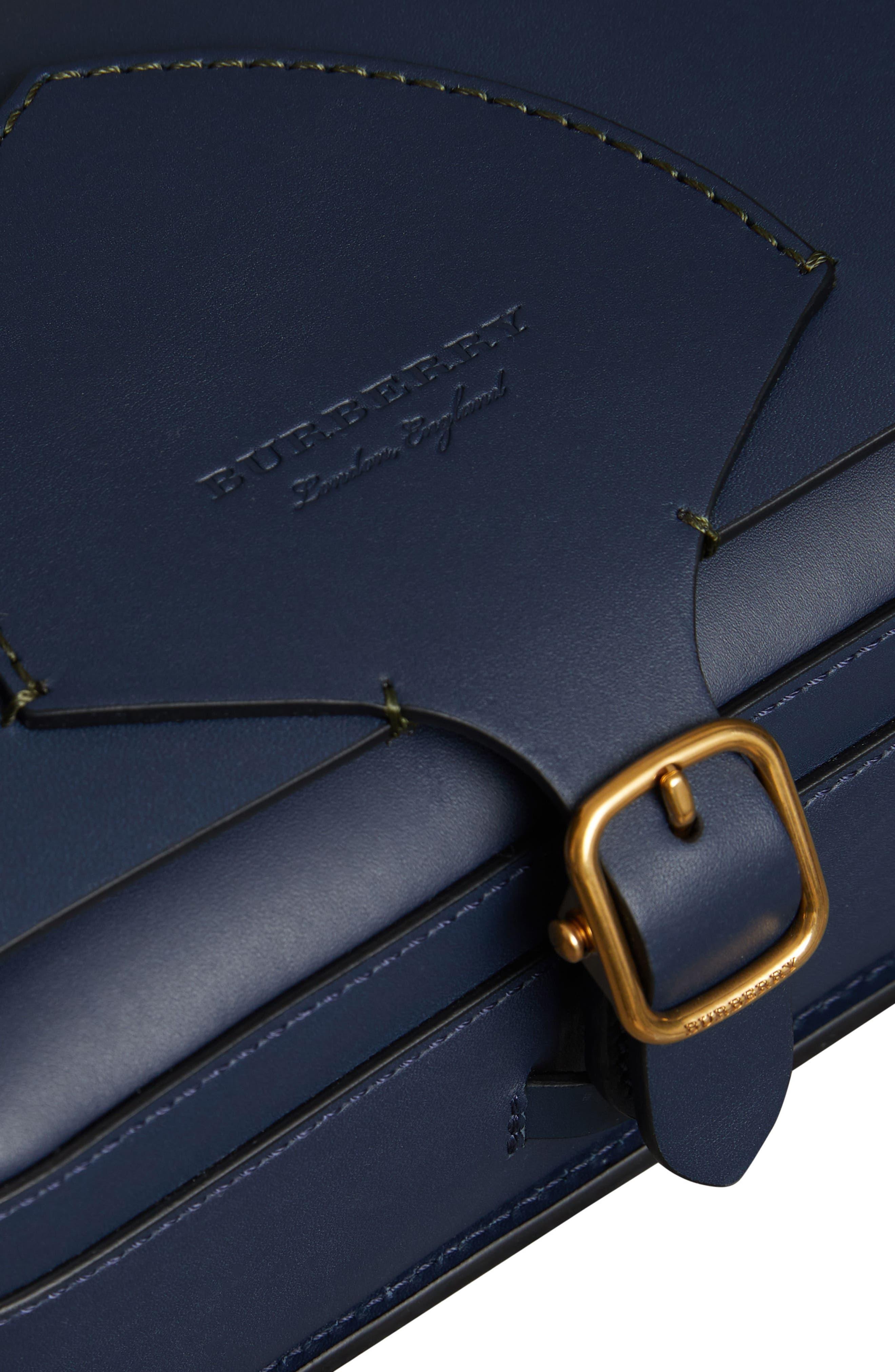 Large Square Leather Shoulder Bag,                             Alternate thumbnail 7, color,                             MID INDIGO