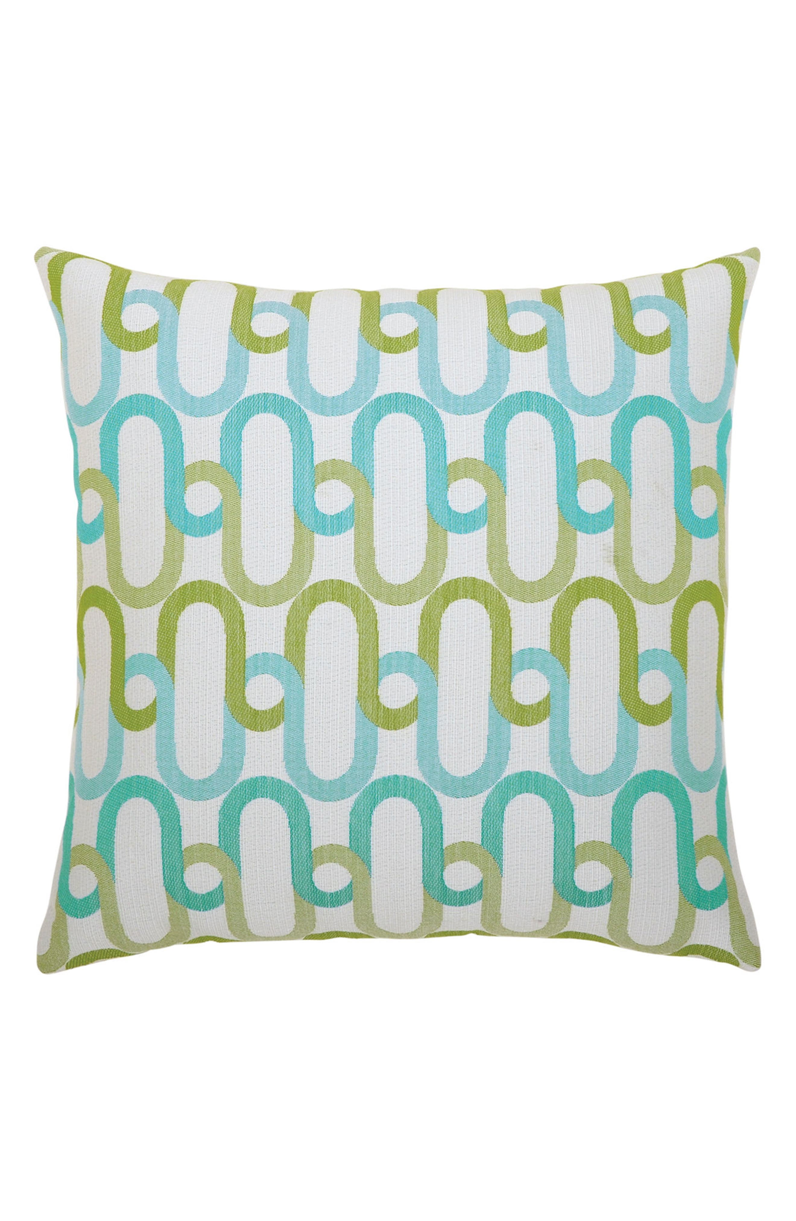 Poolside Link Indoor/Outdoor Accent Pillow,                             Main thumbnail 1, color,                             BLUE/ GREEN