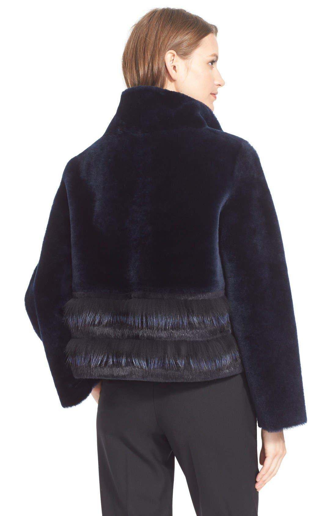 Stripe Reversible Genuine Fur Jacket,                             Alternate thumbnail 2, color,                             417