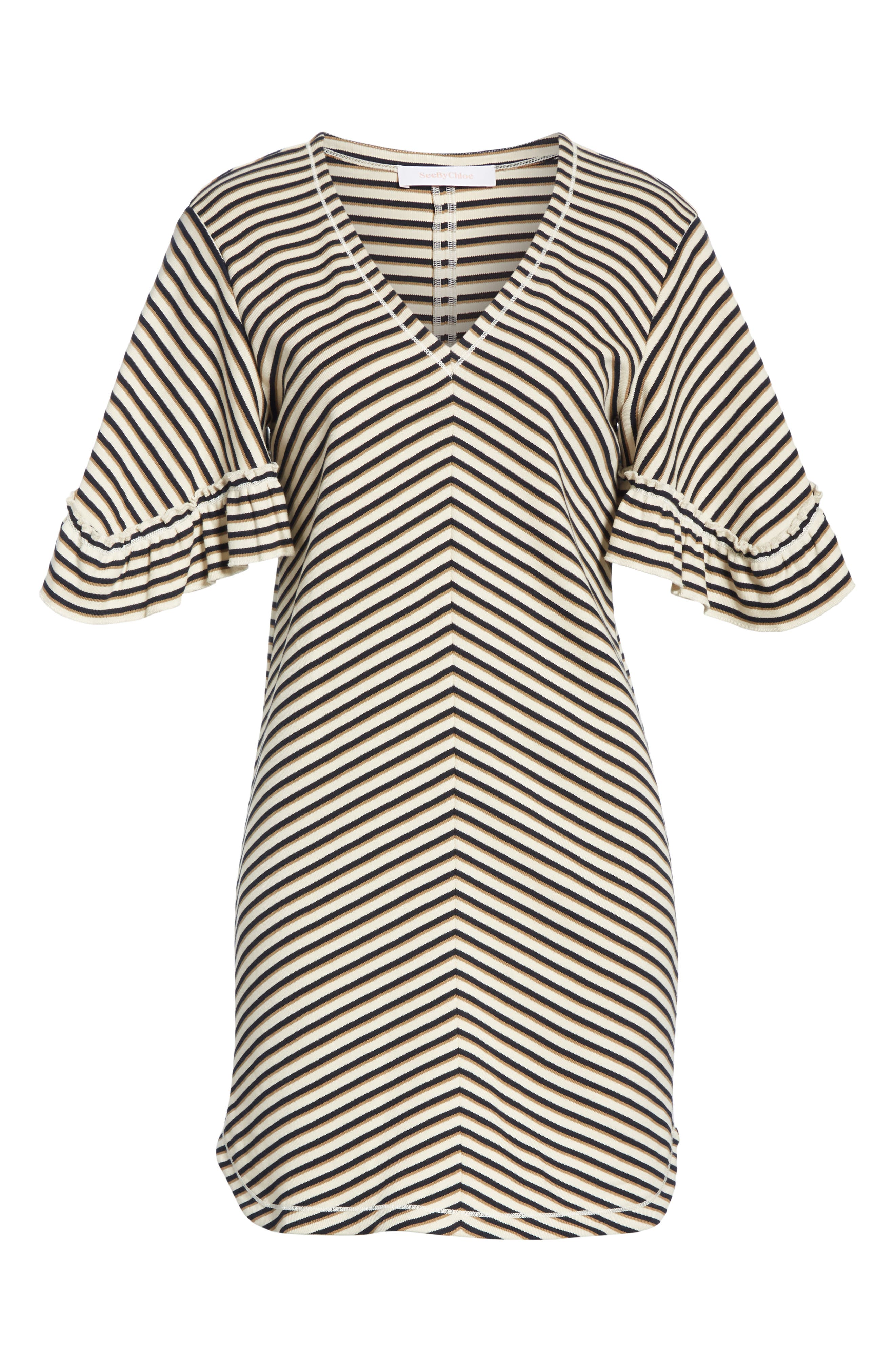 Stripe Ruffle Sleeve Shift Dress,                             Alternate thumbnail 7, color,                             WHITE - BEIGE 1