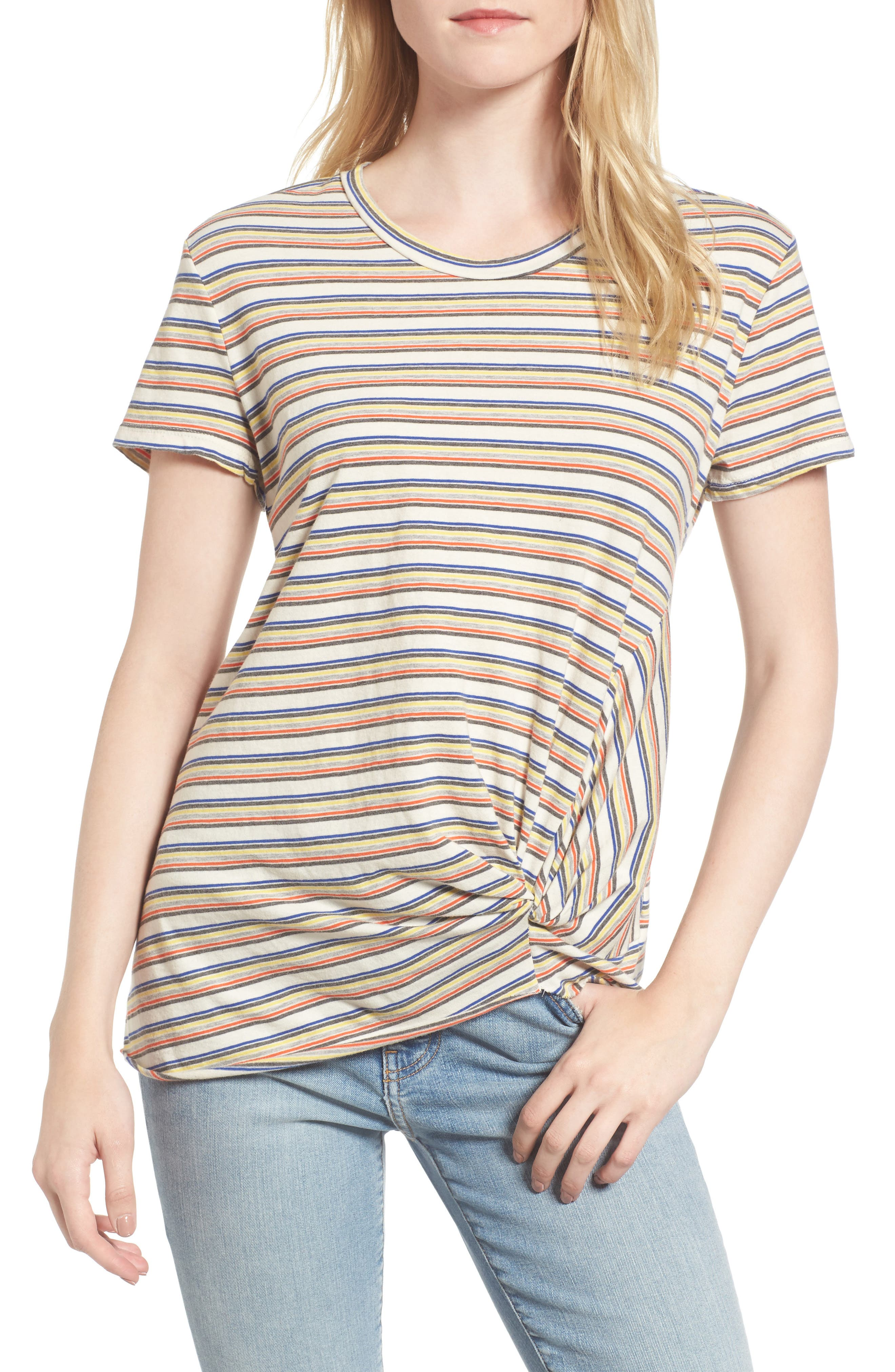 Stripe Twist Front Tee,                         Main,                         color,