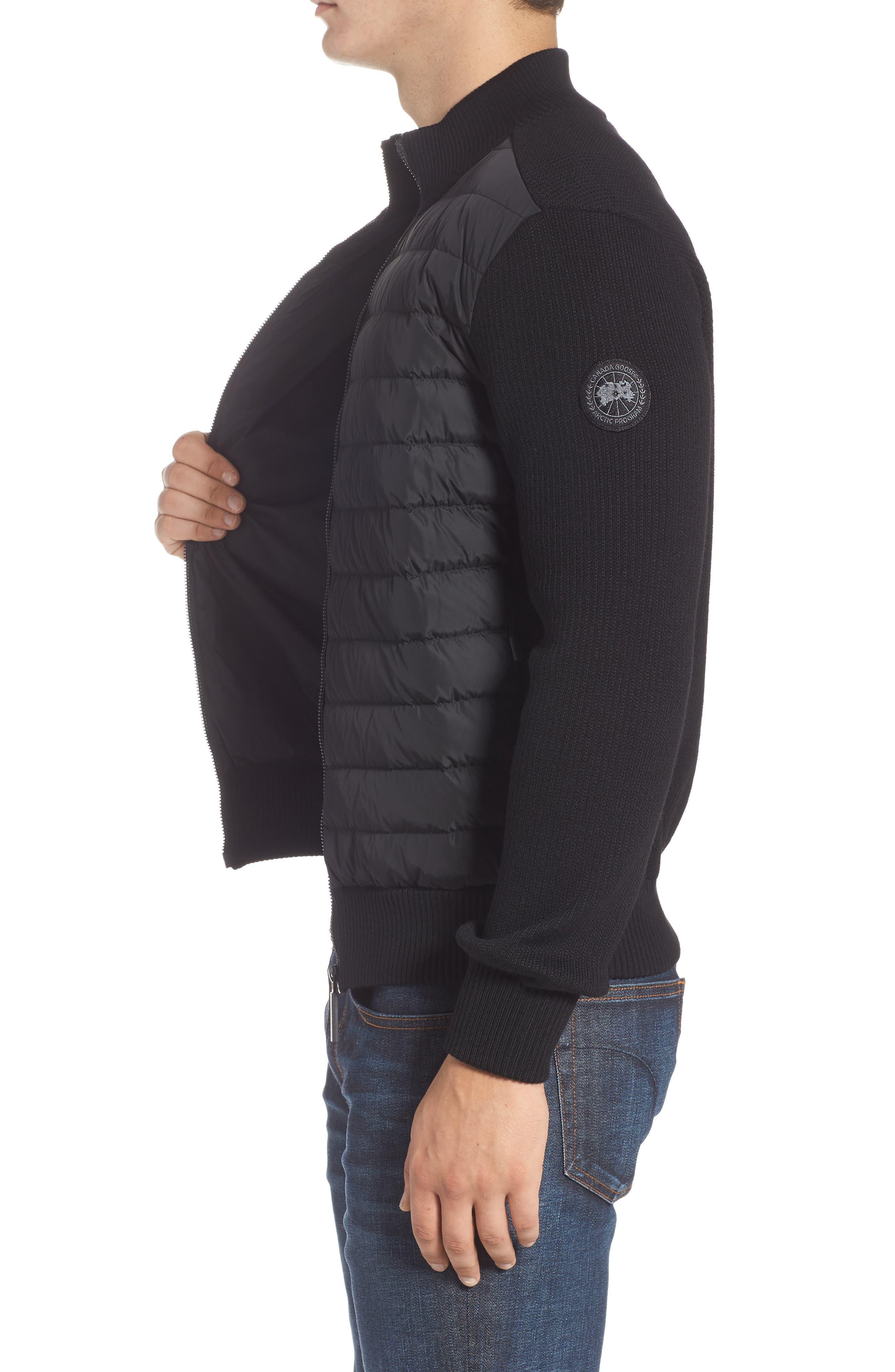Hybridge Slim Fit Down Front Knit Jacket,                             Alternate thumbnail 3, color,                             BLACK