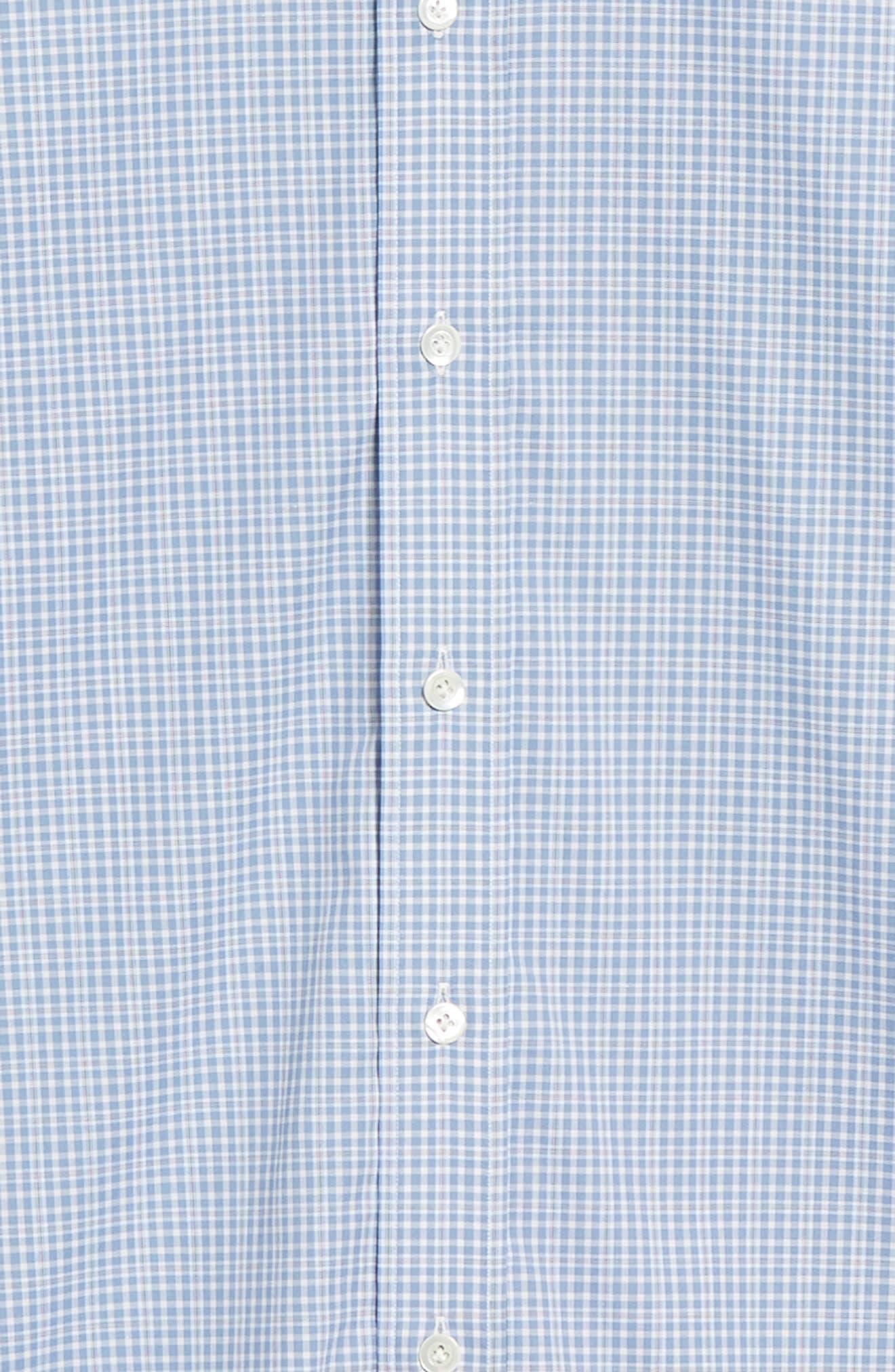 Slim Fit Check Dress Shirt,                             Alternate thumbnail 6, color,                             BLUE