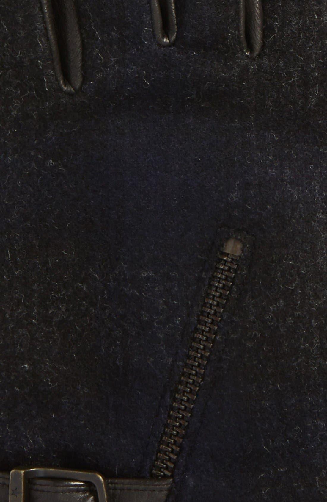 Wool Blend Zip Gloves,                             Alternate thumbnail 6, color,