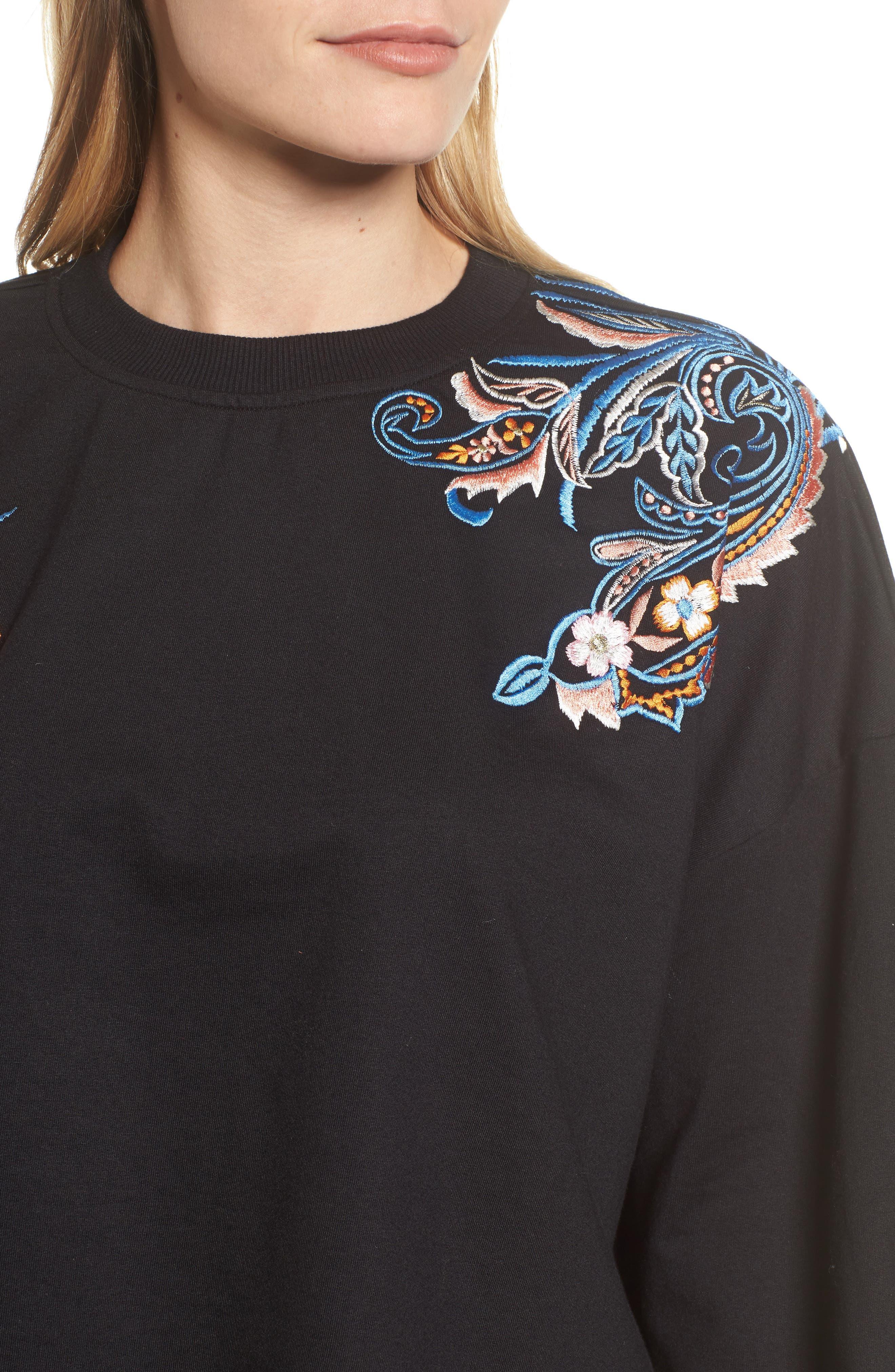 Carlisle Embroidered Sweatshirt,                             Alternate thumbnail 4, color,                             BLACK