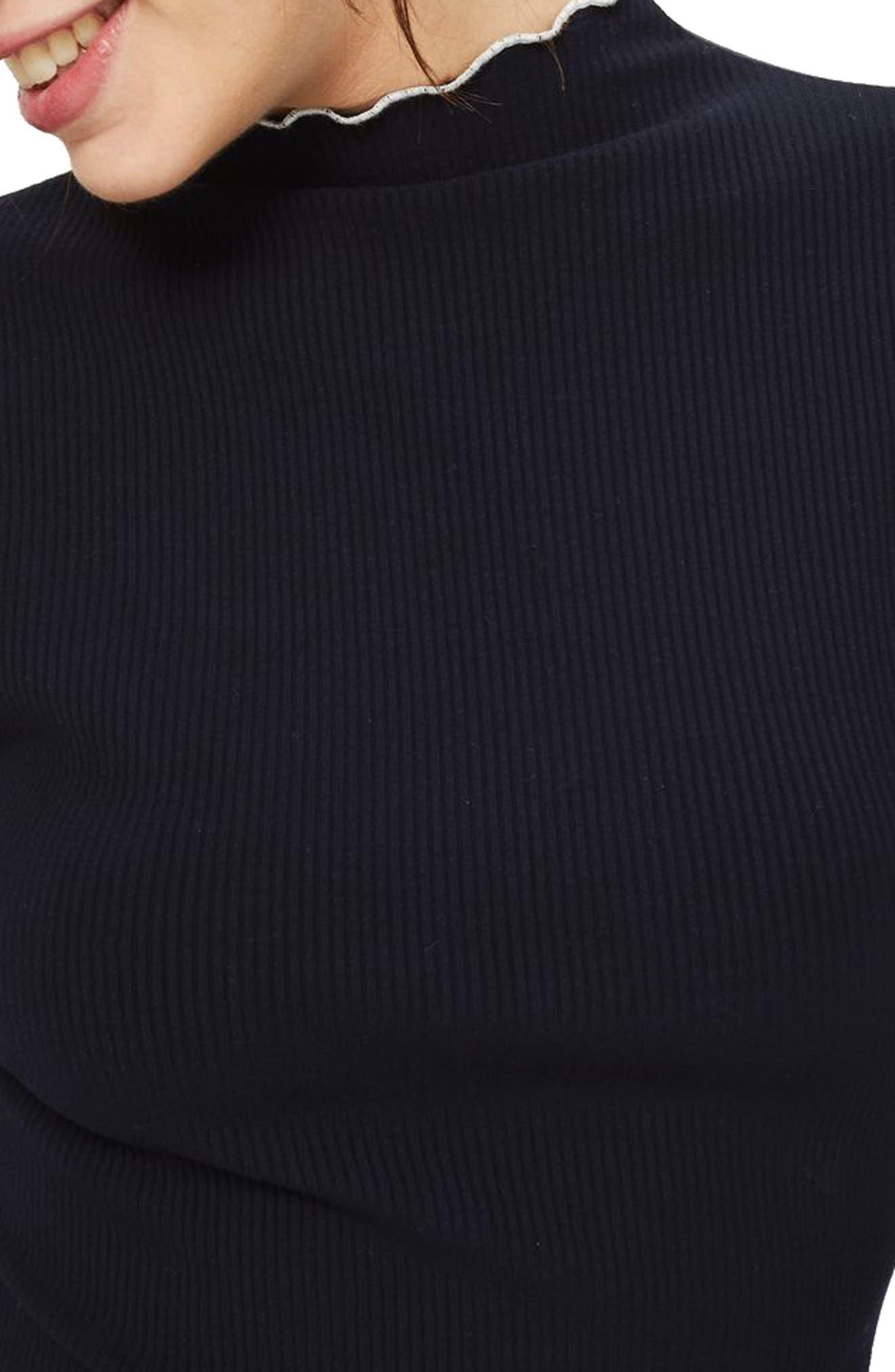 Lettuce Trim Body-Con Midi Dress,                             Alternate thumbnail 3, color,                             410