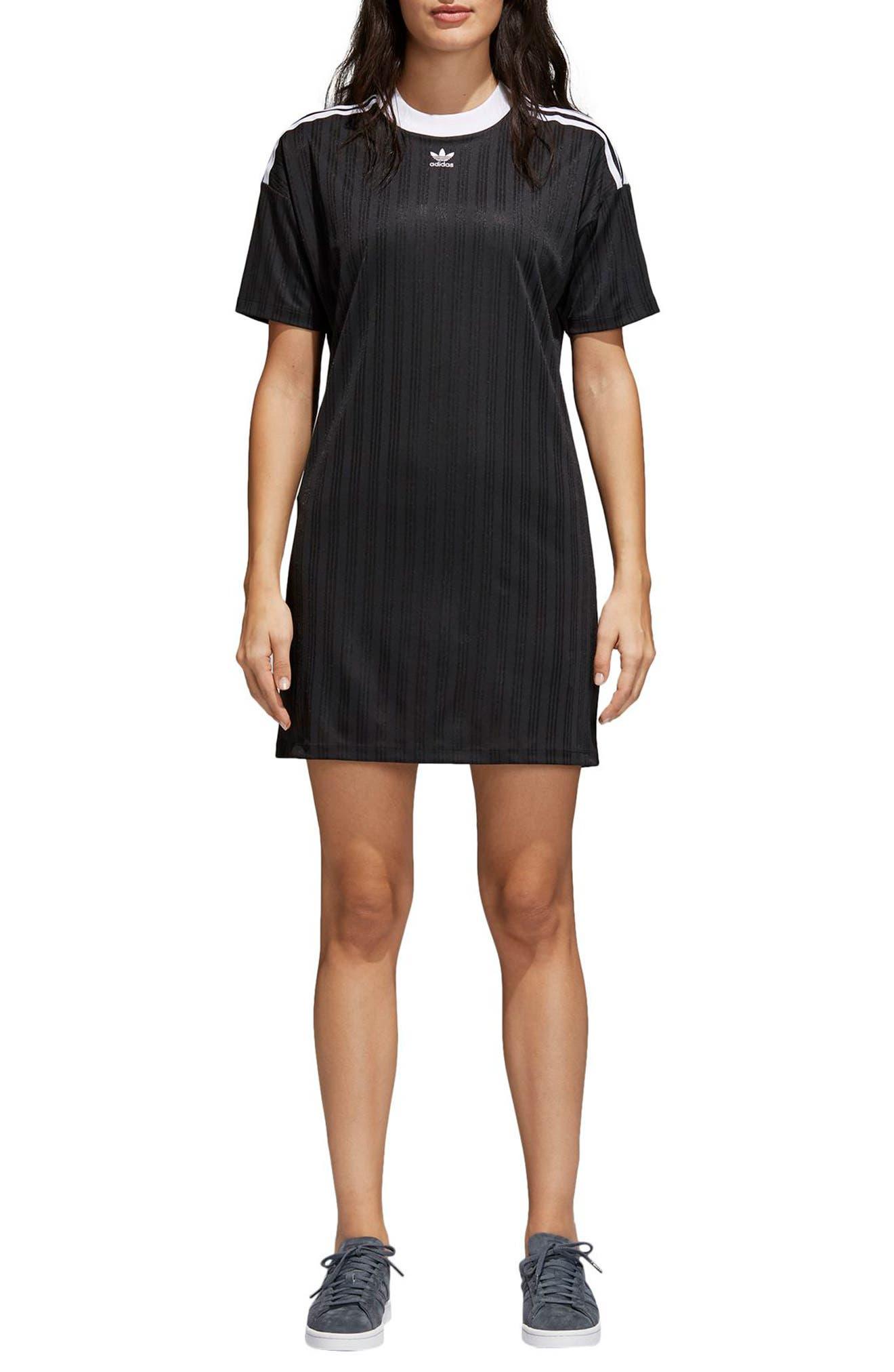 ADIDAS ORIGINALS,                             Trefoil T-Shirt Dress,                             Alternate thumbnail 6, color,                             001