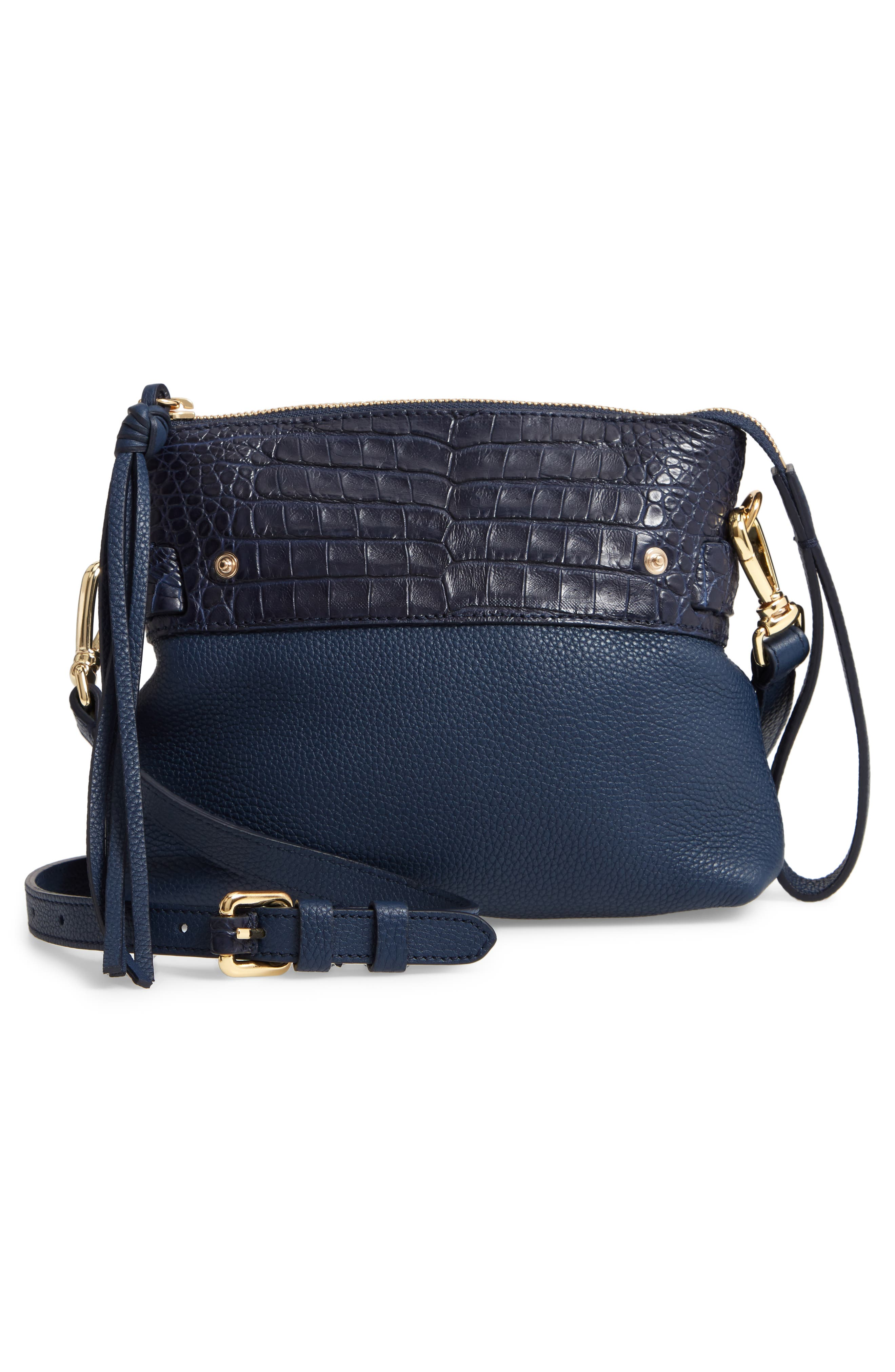 Mini Cristie Leather & Genuine Crocodile Satchel,                             Alternate thumbnail 8, color,                             DARK NAVY