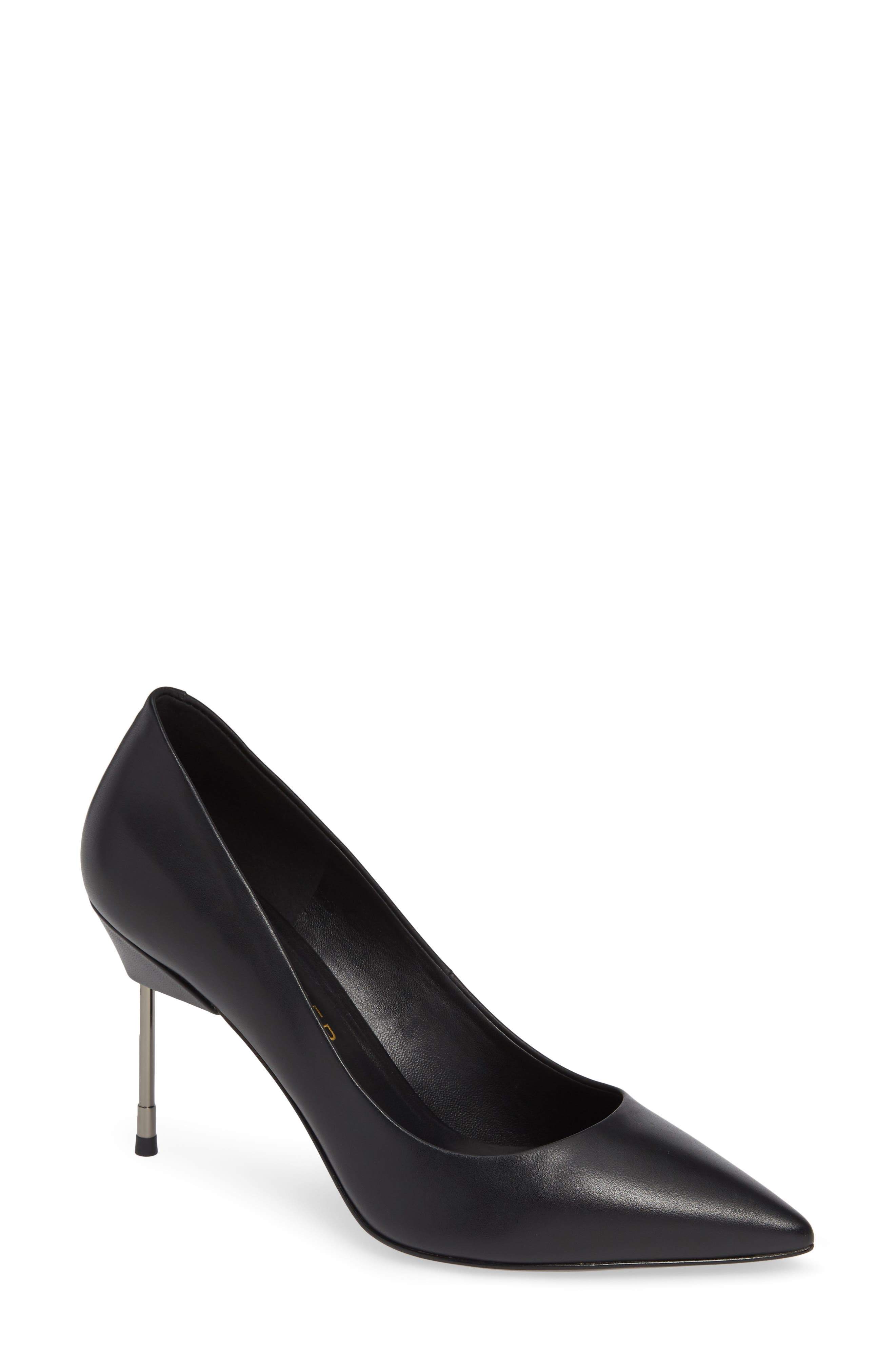 KURT GEIGER Women'S Britton 90 Pointed-Toe Pumps in Black Leather
