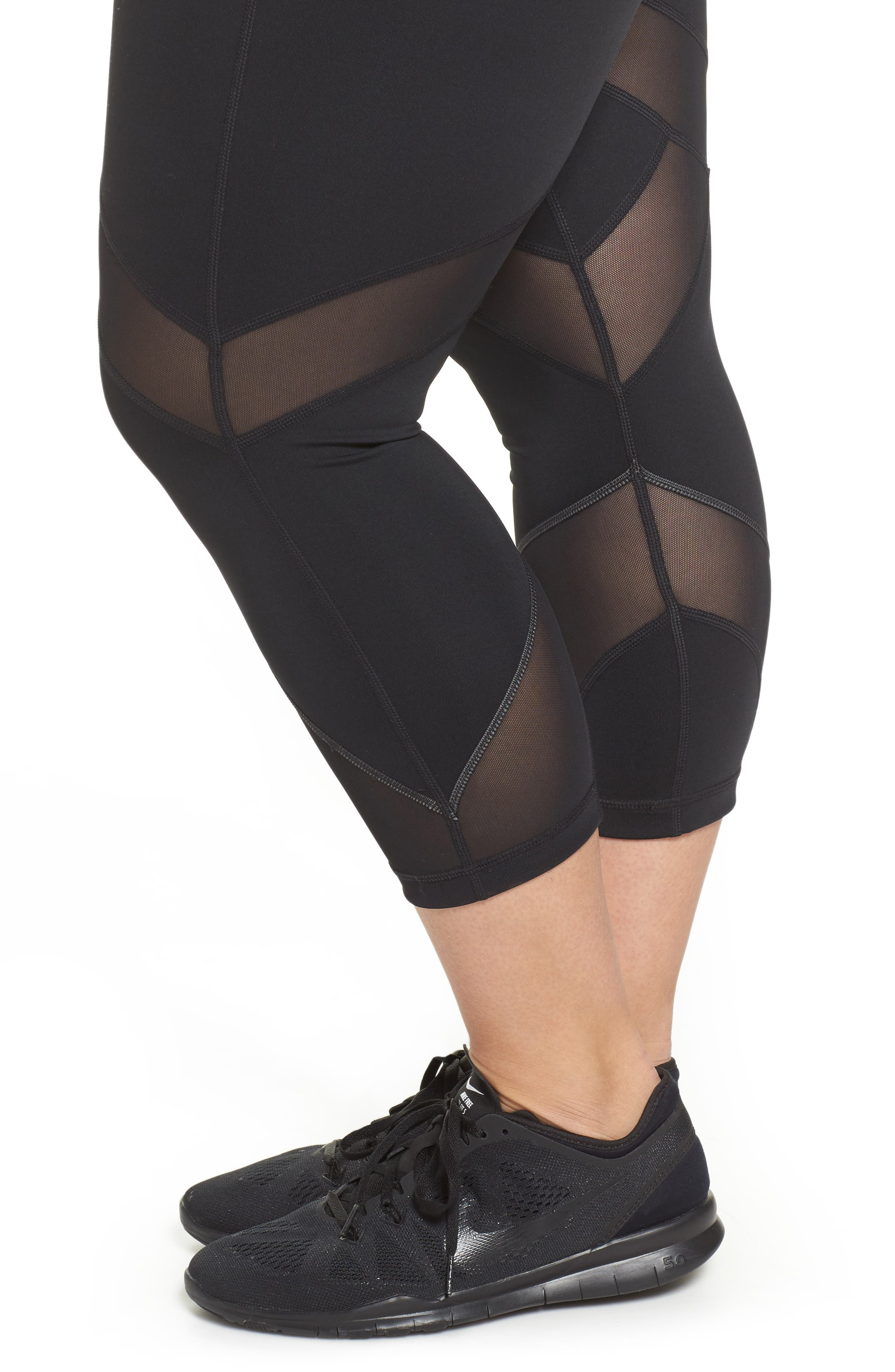 Swift II Crop Leggings,                             Alternate thumbnail 4, color,                             BLACK