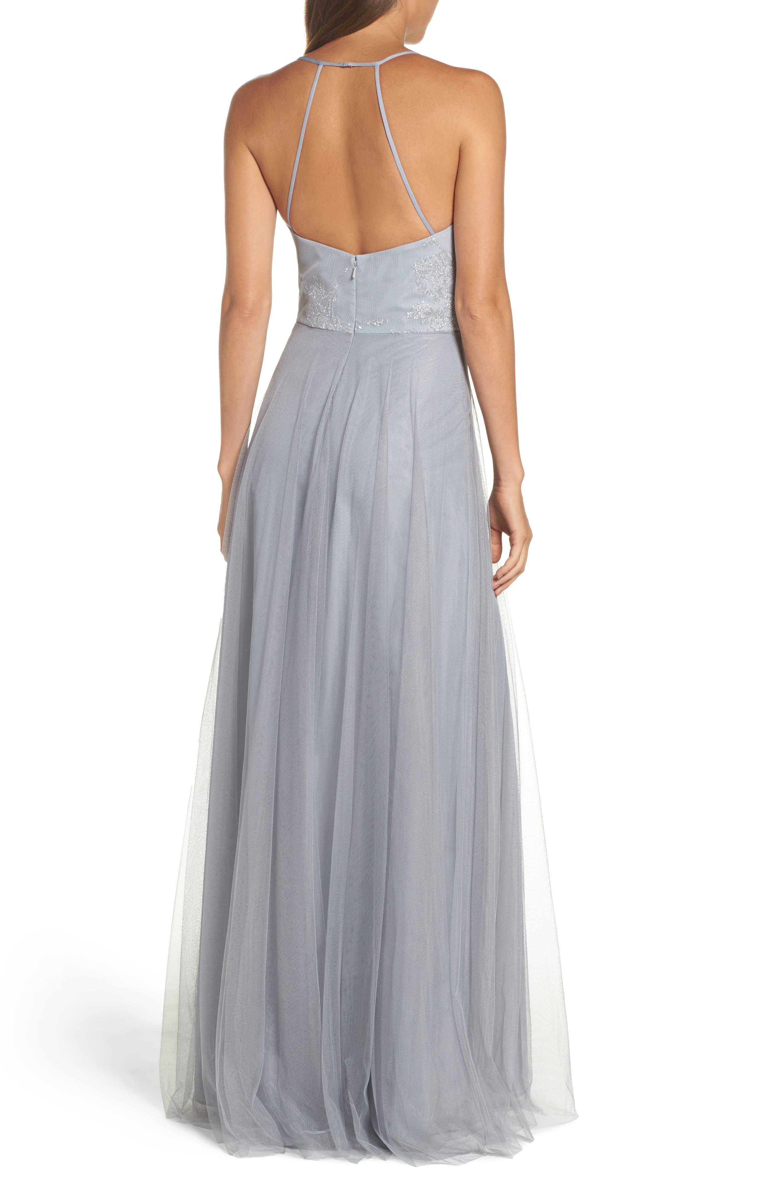 Embellished Bodice Net Halter Gown,                             Alternate thumbnail 2, color,                             PEWTER