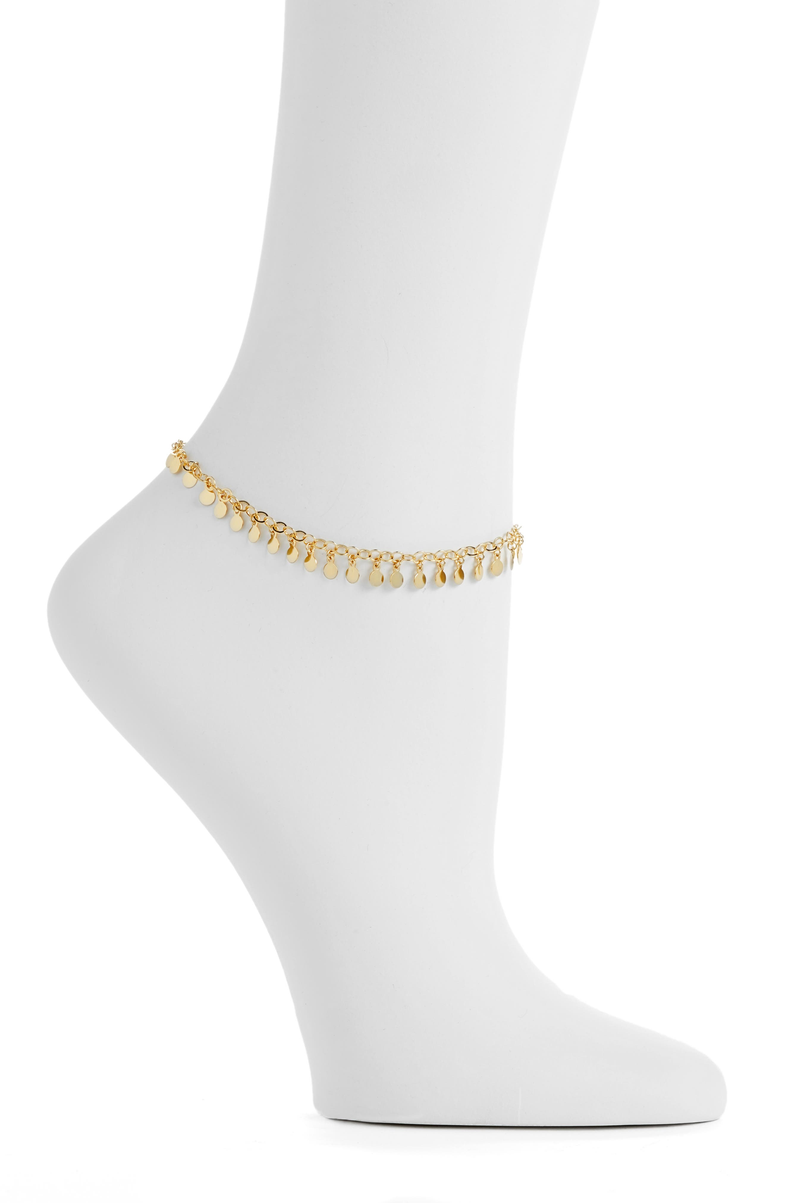 Carmen Chain Anklet,                             Main thumbnail 1, color,                             GOLD
