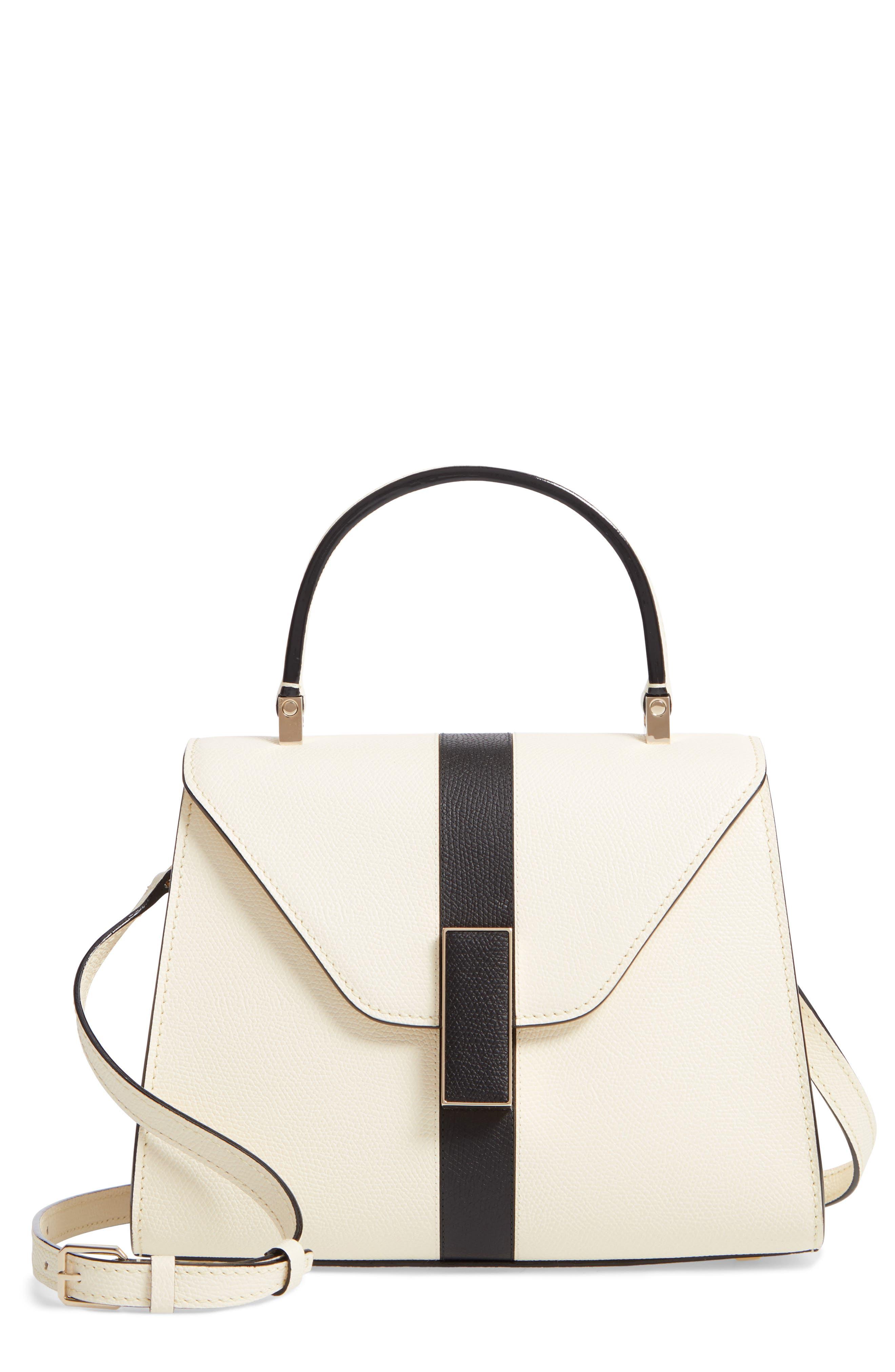 Mini Iside Top Handle Bag,                         Main,                         color, WHITE/ BLACK