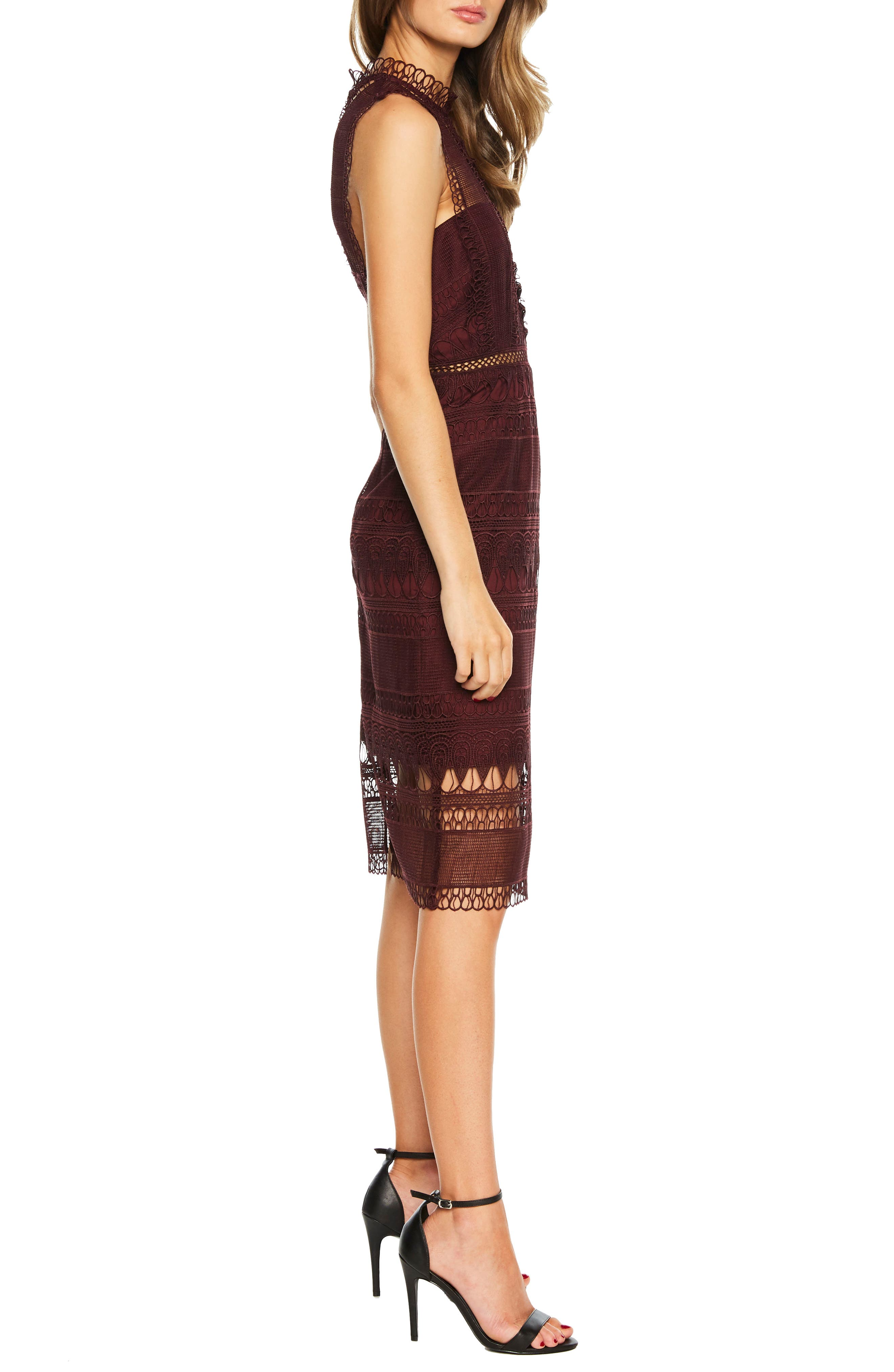 Mariana Lace Body-Con Dress,                             Alternate thumbnail 3, color,                             BURGUNDY
