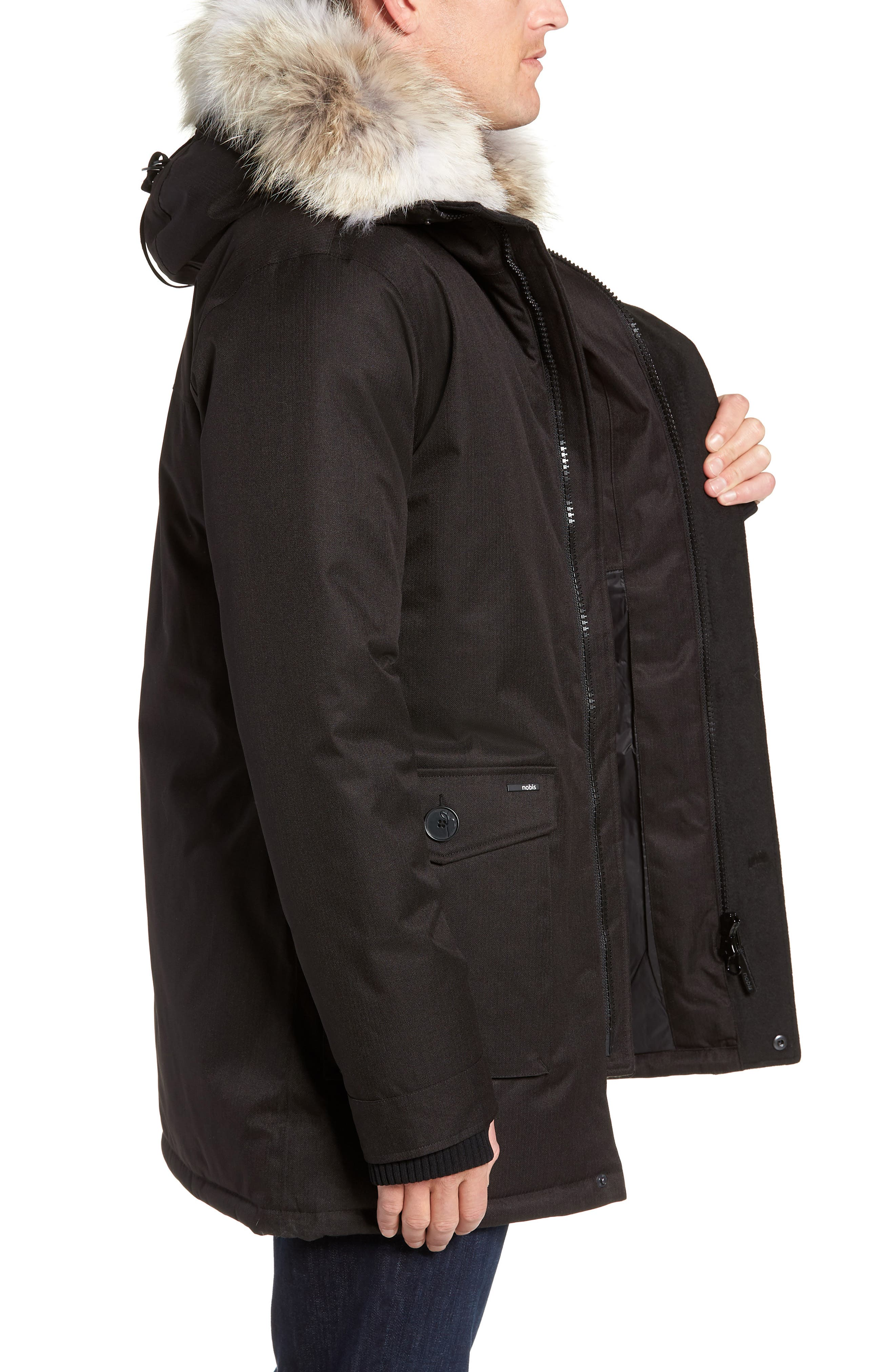 Yves Windproof & Waterproof 650 Fill Power Down Parka with Genuine Coyote Fur Trim,                             Alternate thumbnail 4, color,                             BLACK