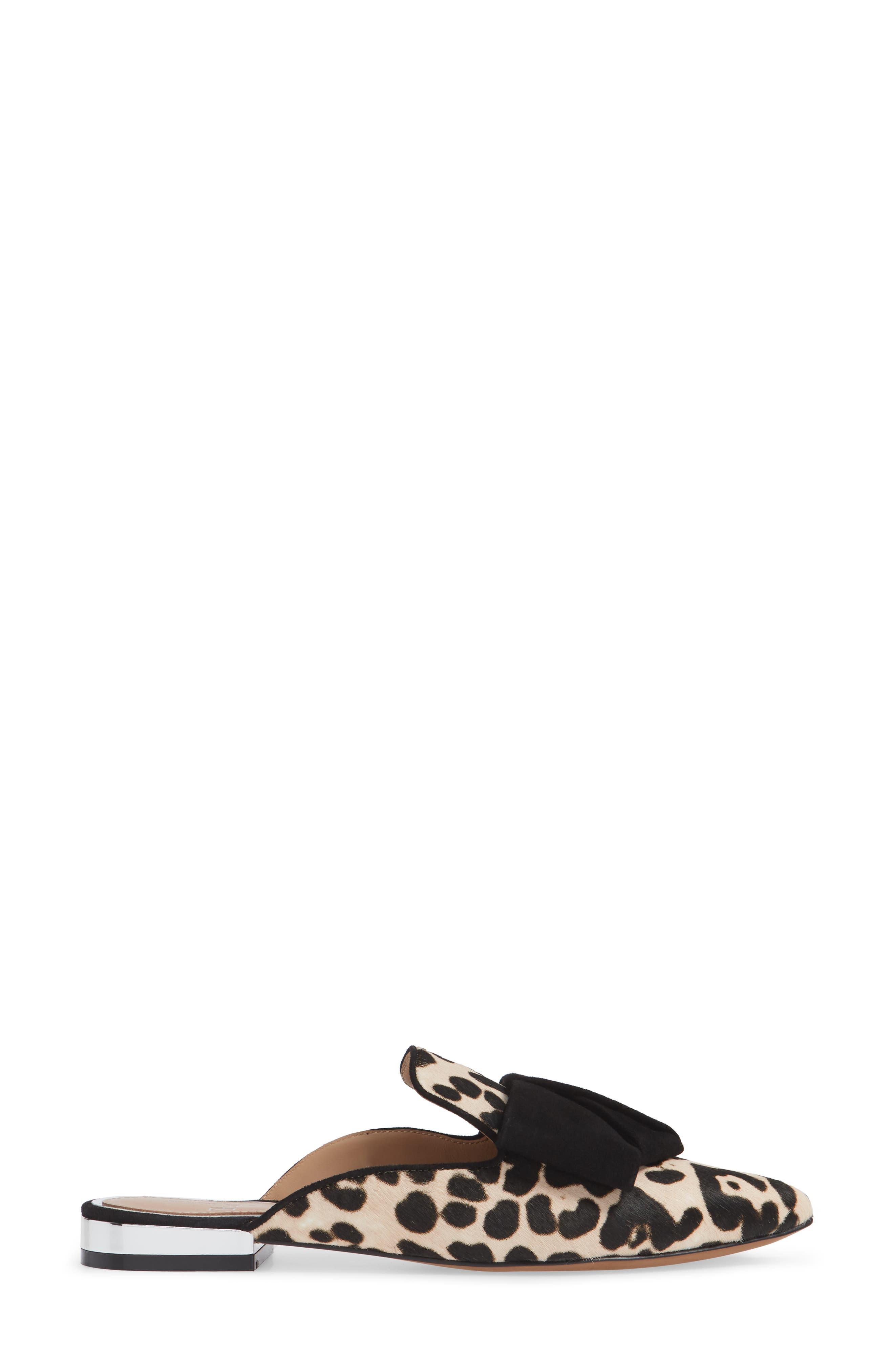 LINEA PAOLO,                             Anya Genuine Calf Hair Bow Mule,                             Alternate thumbnail 3, color,                             WHITE/ BLACK PRINT HAIRCALF